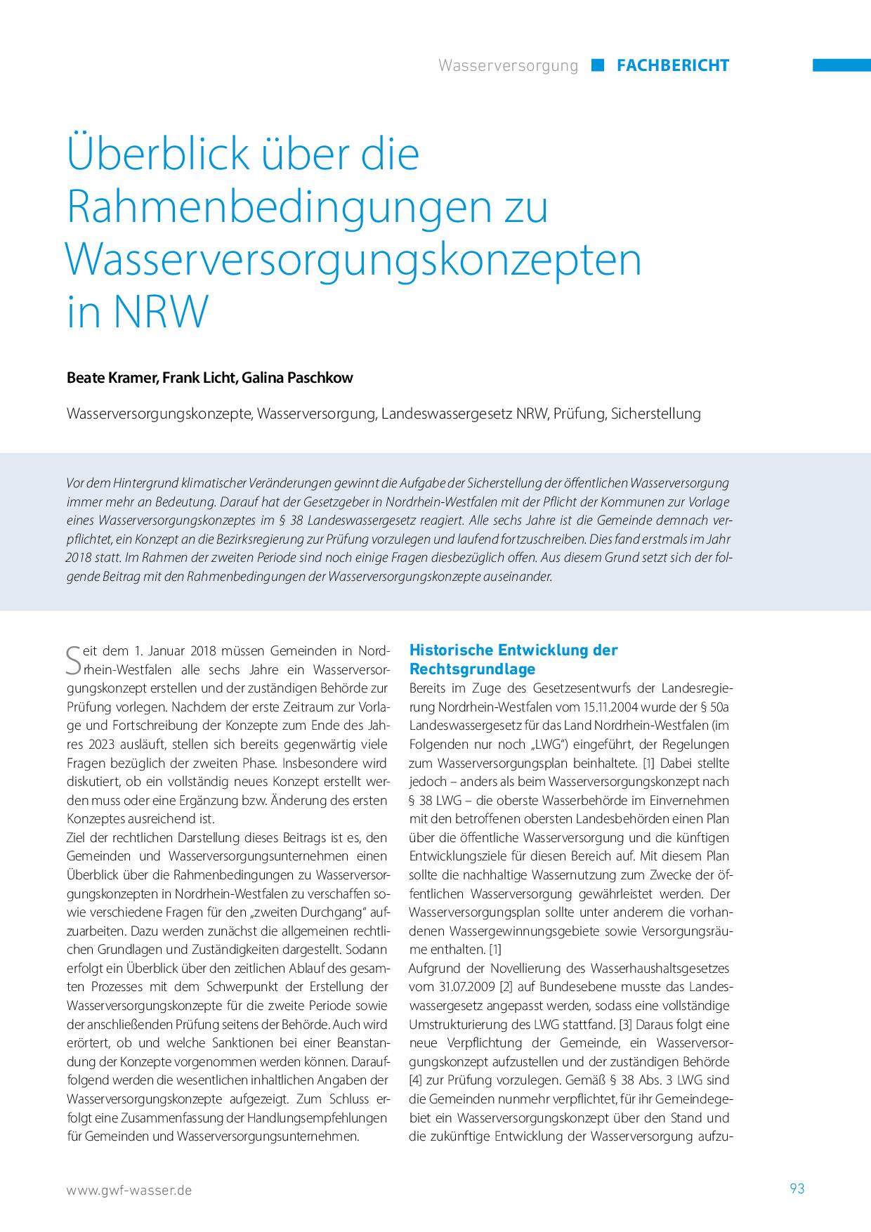 Überblick über die Rahmenbedingungen zu Wasserversorgungskonzepten in NRW