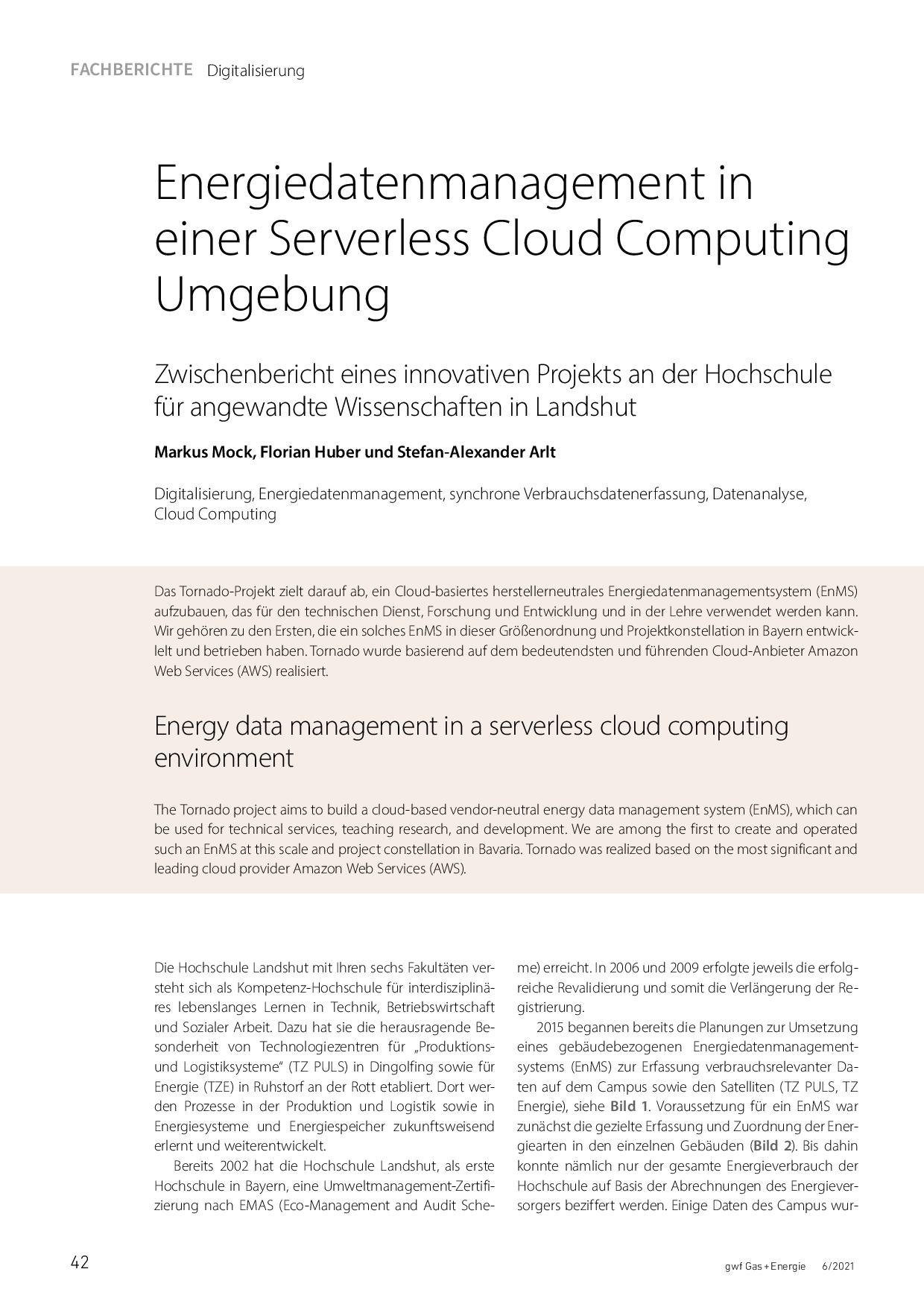 Energiedatenmanagement in einer Serverless Cloud Computing Umgebung