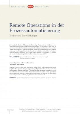 Remote Operations in der Prozessautomatisierung