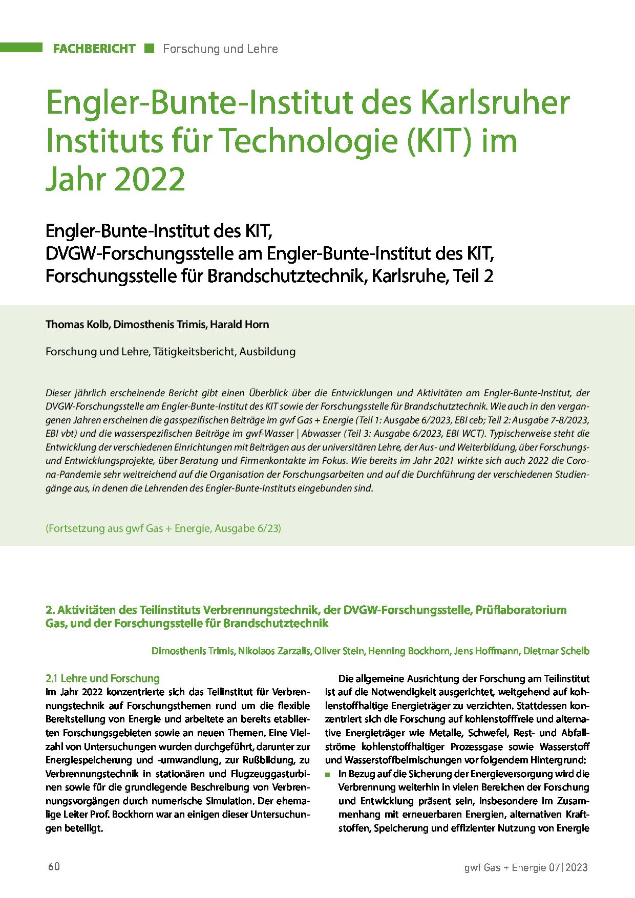 Engler-Bunte-Institut des Karlsruher Instituts für Technologie (KIT) im Jahr 2020
