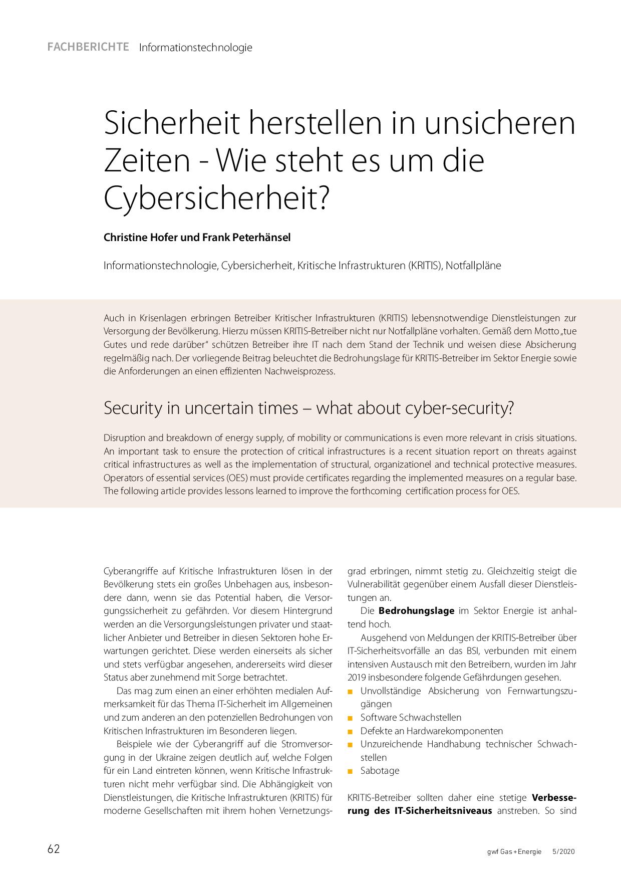 Sicherheit herstellen in unsicheren Zeiten – Wie steht es um die Cybersicherheit?