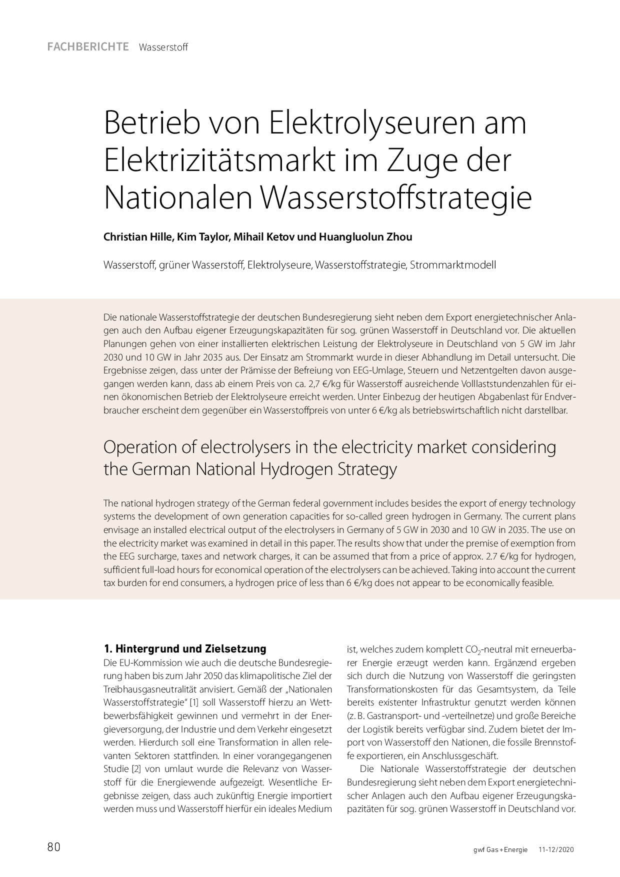 Betrieb von Elektrolyseuren am Elektrizitätsmarkt im Zuge der Nationalen Wasserstoffstrategie