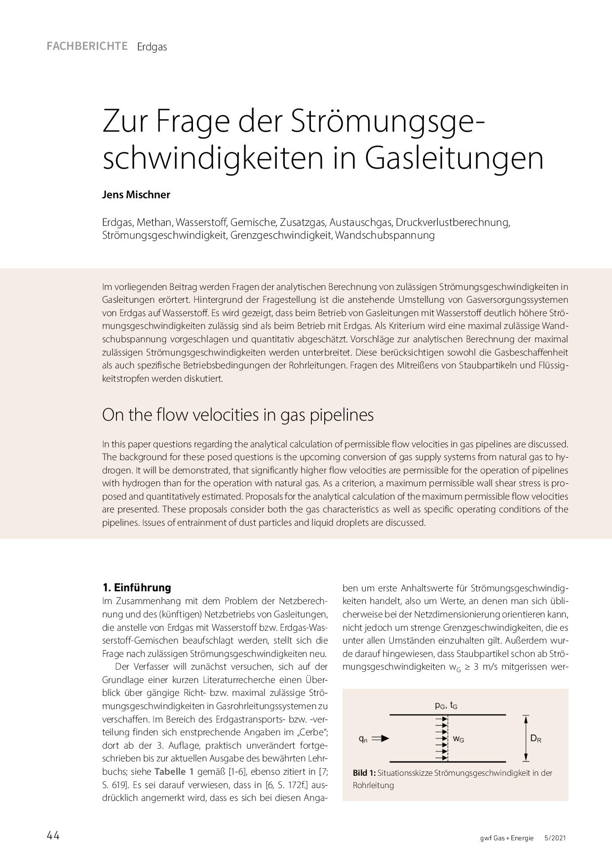 Zur Dimensionierung von Anschlussleitungen für Gasgeräte im Nieder- und Mitteldruckbereich und Leistungen bis 1.000 kW