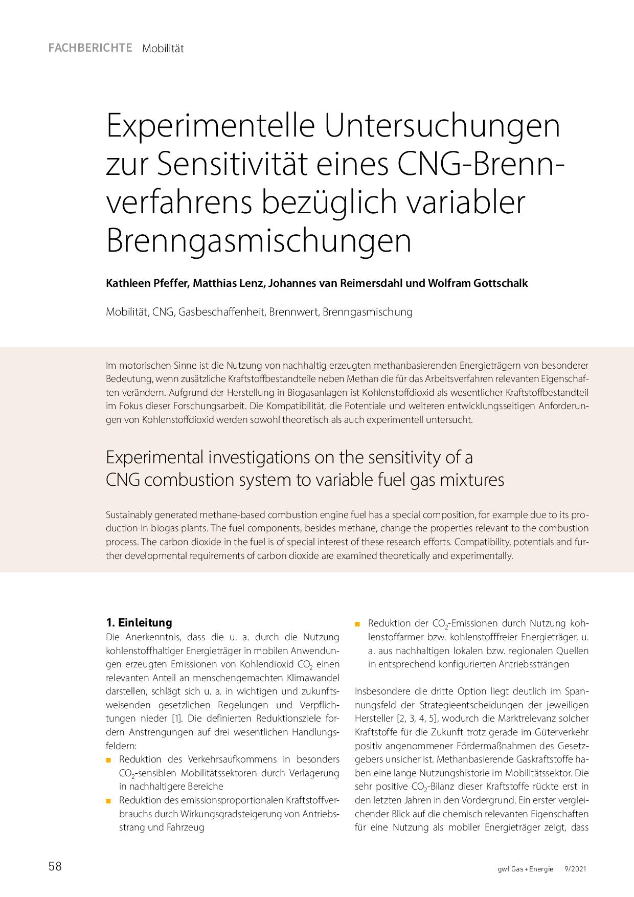 Experimentelle Untersuchungen zur Sensitivität eines CNG-Brennverfahrens bezüglich variabler Brenngasmischungen