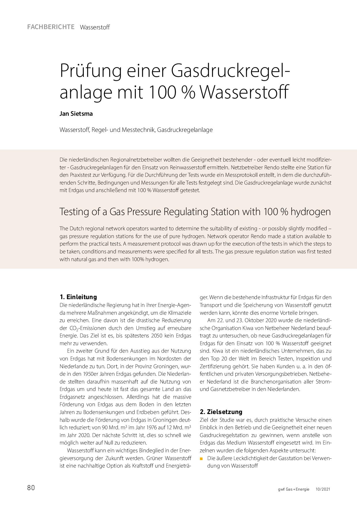 Prüfung einer Gasdruckregelanlage mit 100 % Wasserstoff