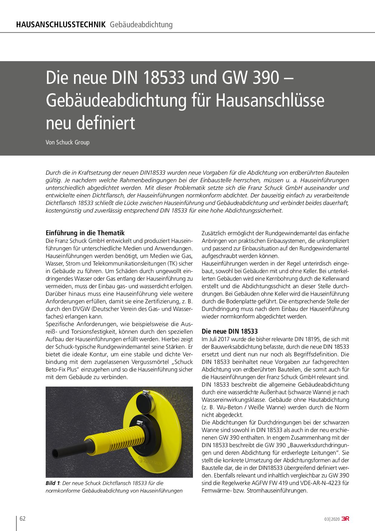Die neue DIN 18533 und GW 390 – Gebäudeabdichtung für Hausanschlüsse neu definiert