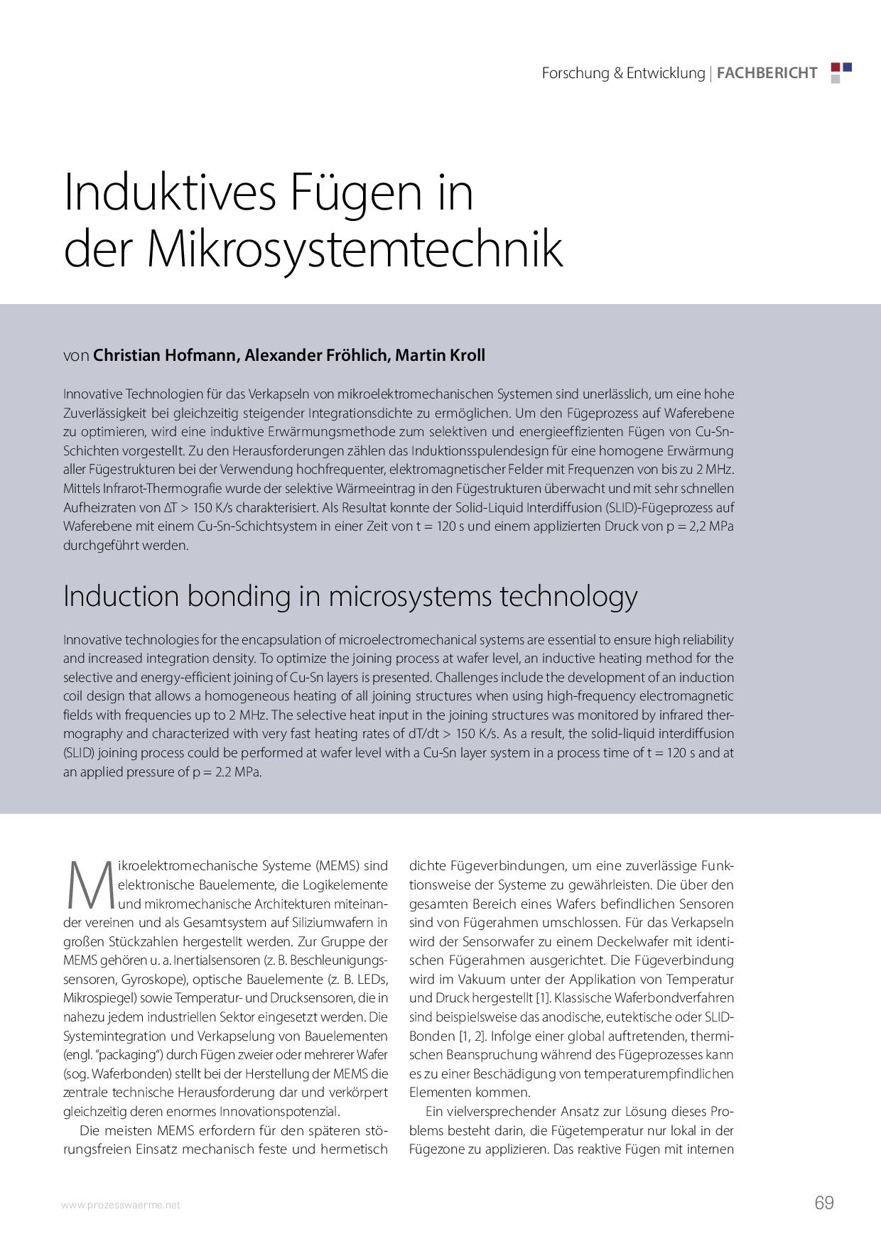 Induktives Fügen in der Mikrosystemtechnik