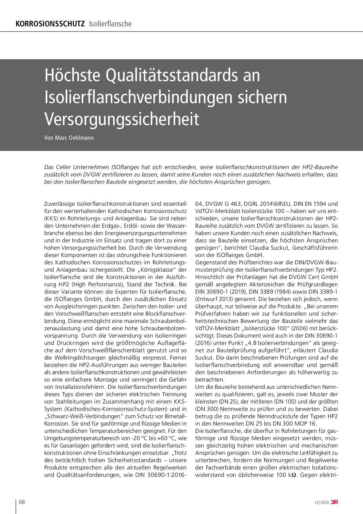 Höchste Qualitätsstandards an Isolierflanschverbindungen sichern Versorgungssicherheit