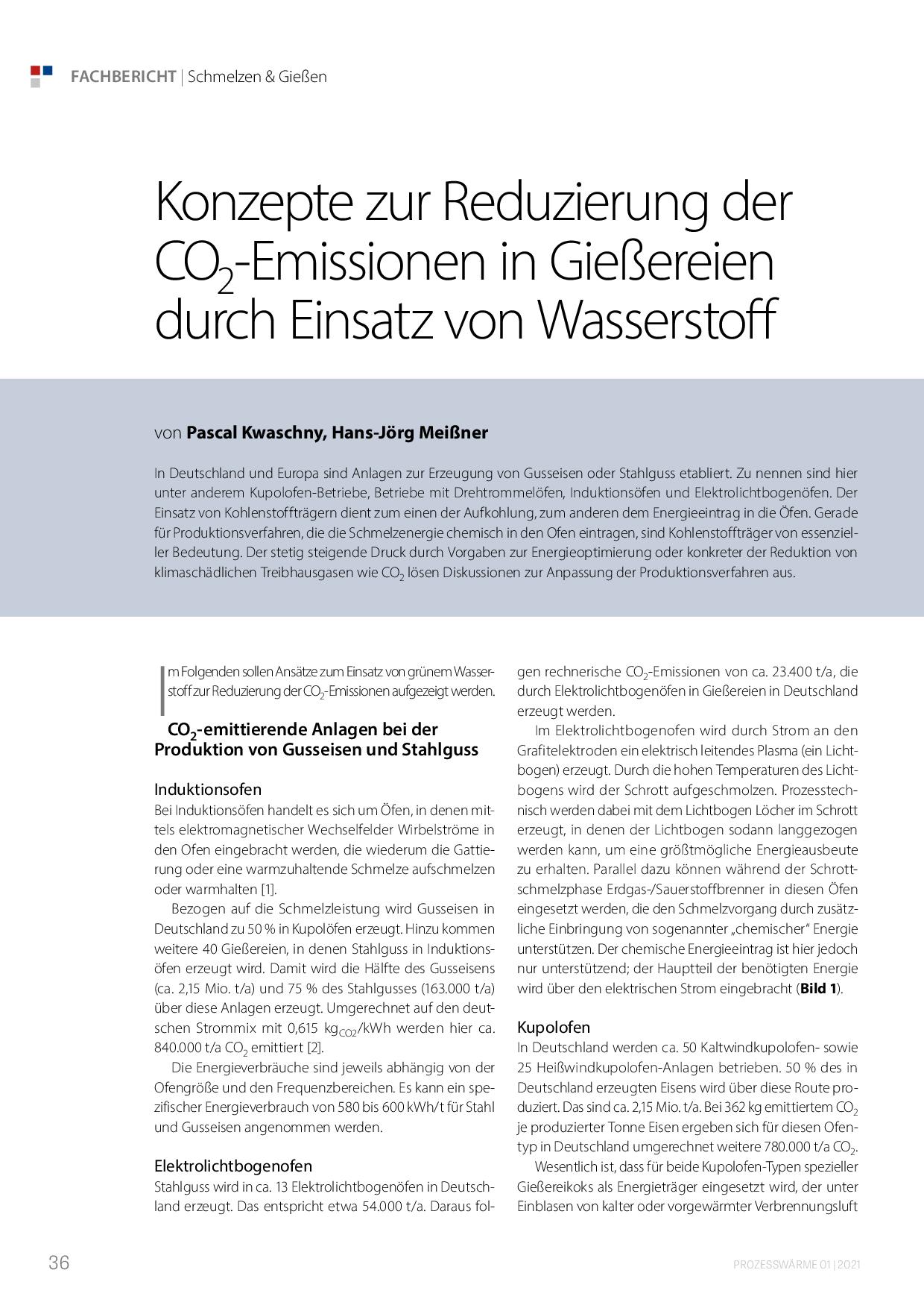 Konzepte zur Reduzierung der CO2-Emissionen in Gießereien durch Einsatz von Wasserstoff