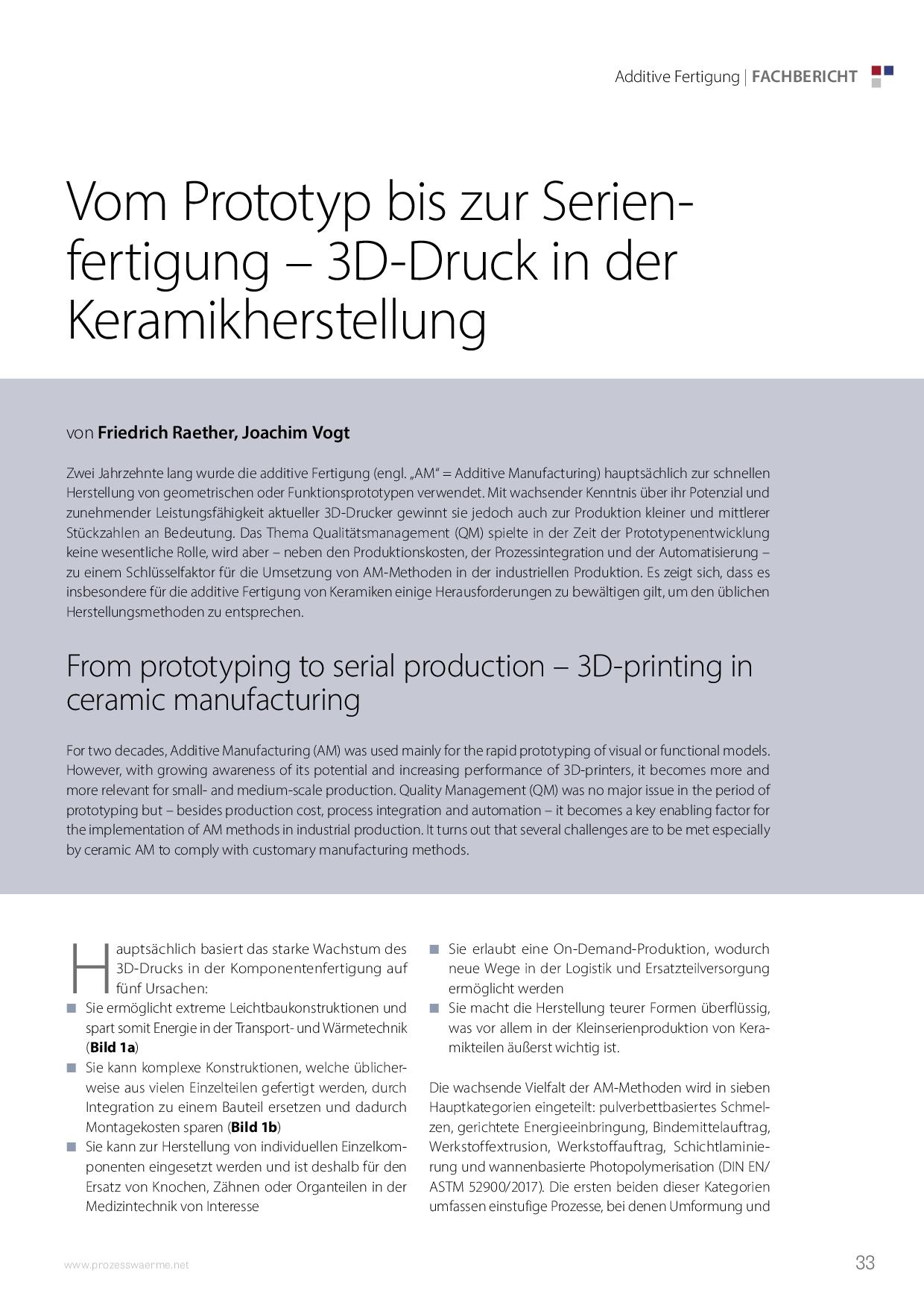 Vom Prototyp bis zur Serienfertigung – 3D-Druck in der Keramikherstellung