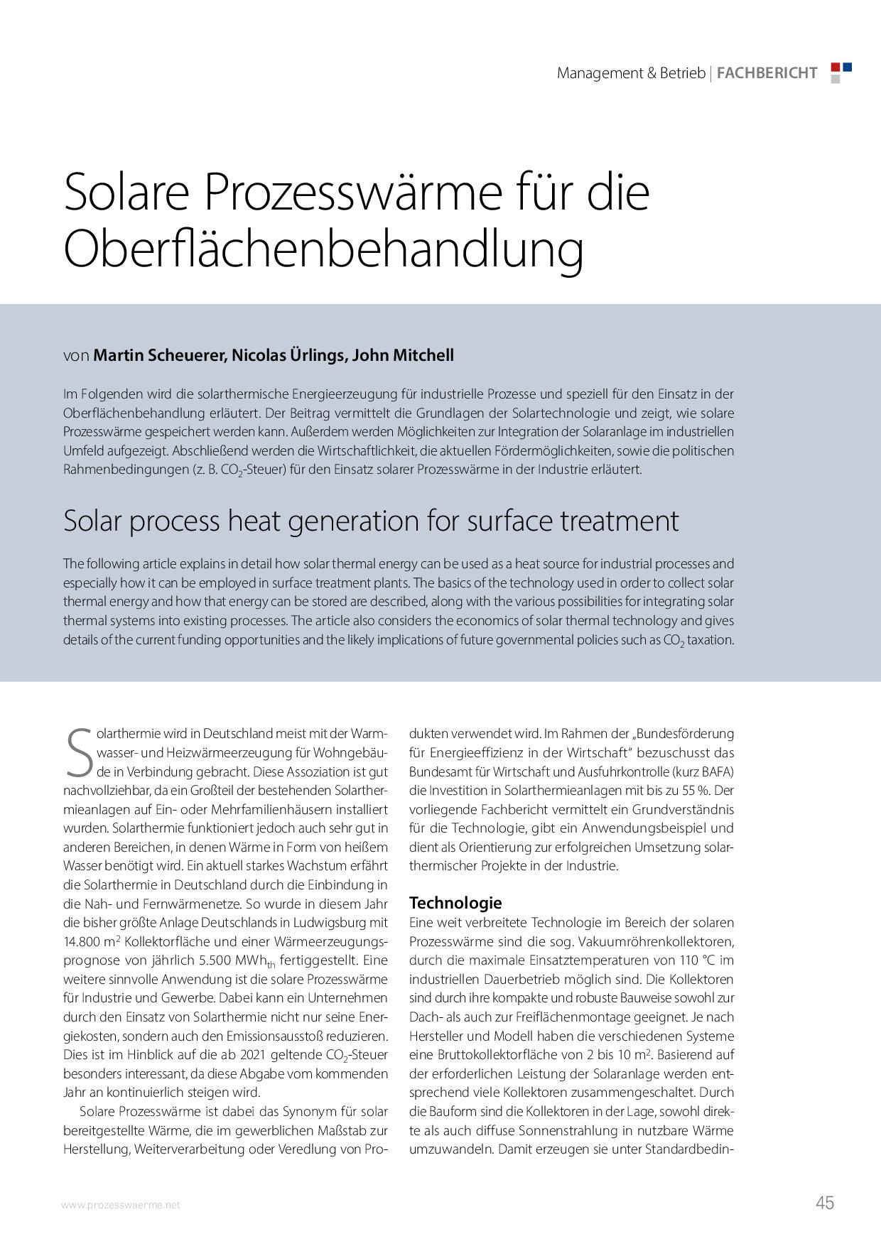 Solare Prozesswärme für die Oberflächenbehandlung