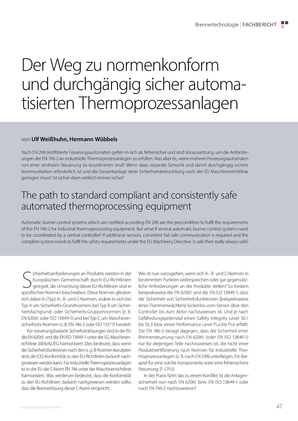 Der Weg zu normenkonform und durchgängig sicher automatisierten Thermoprozessanlagen