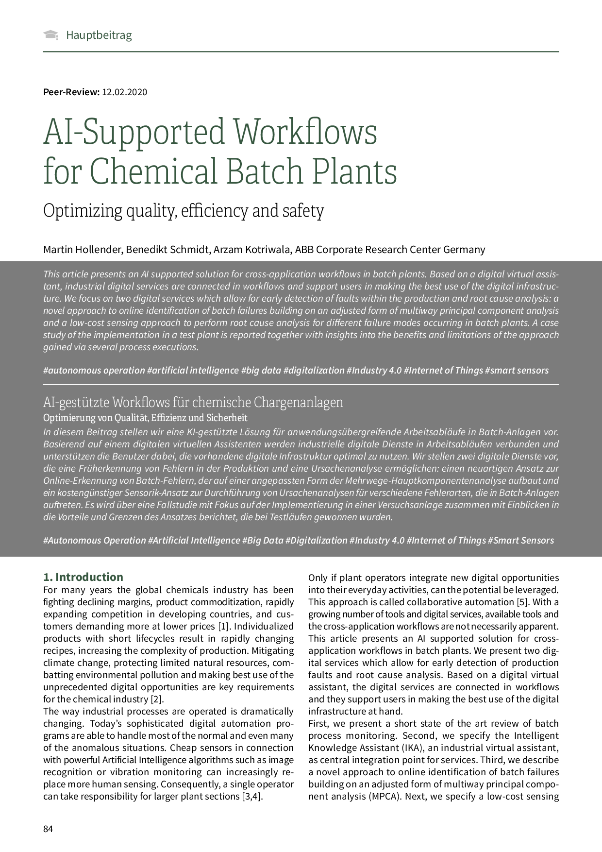 AI-Supported Workflows for Chemical Batch Plants