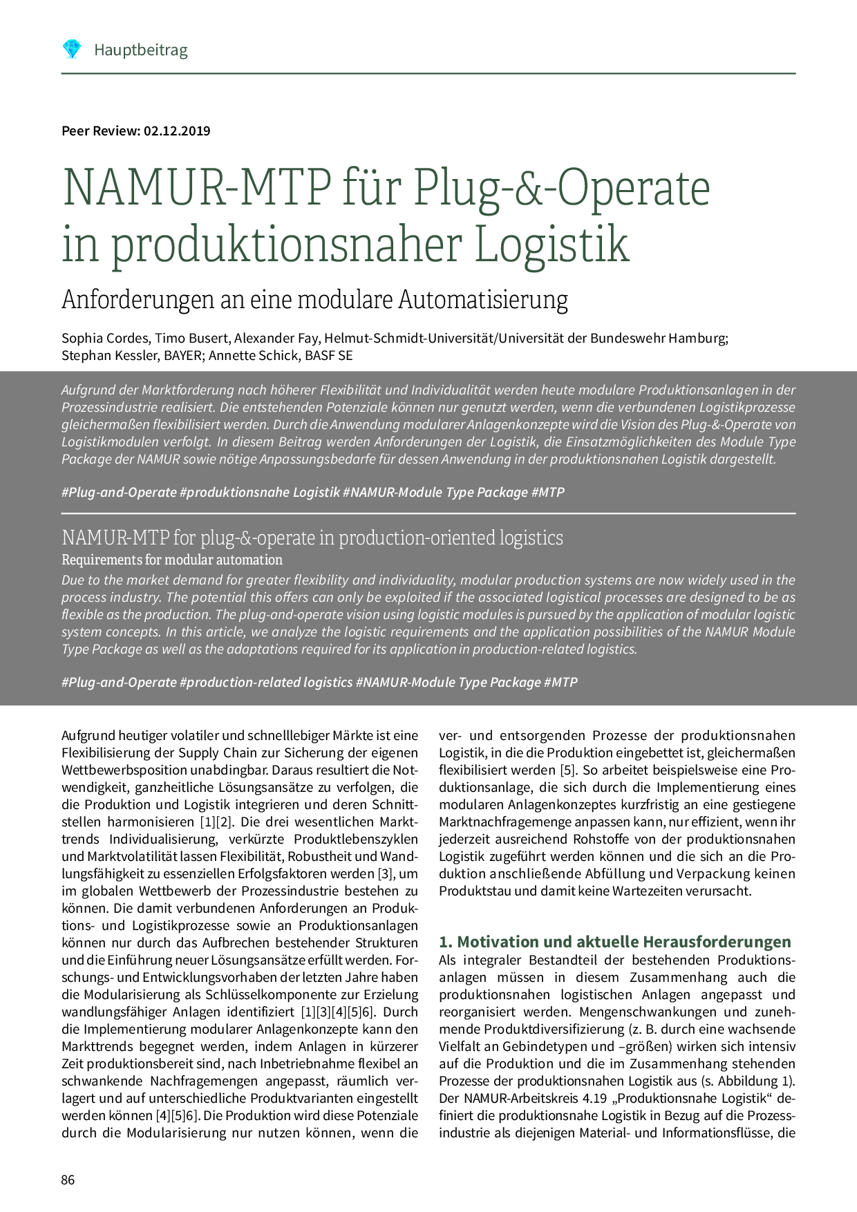 NAMUR-MTP für Plug-&-Operate in produktionsnaher Logistik