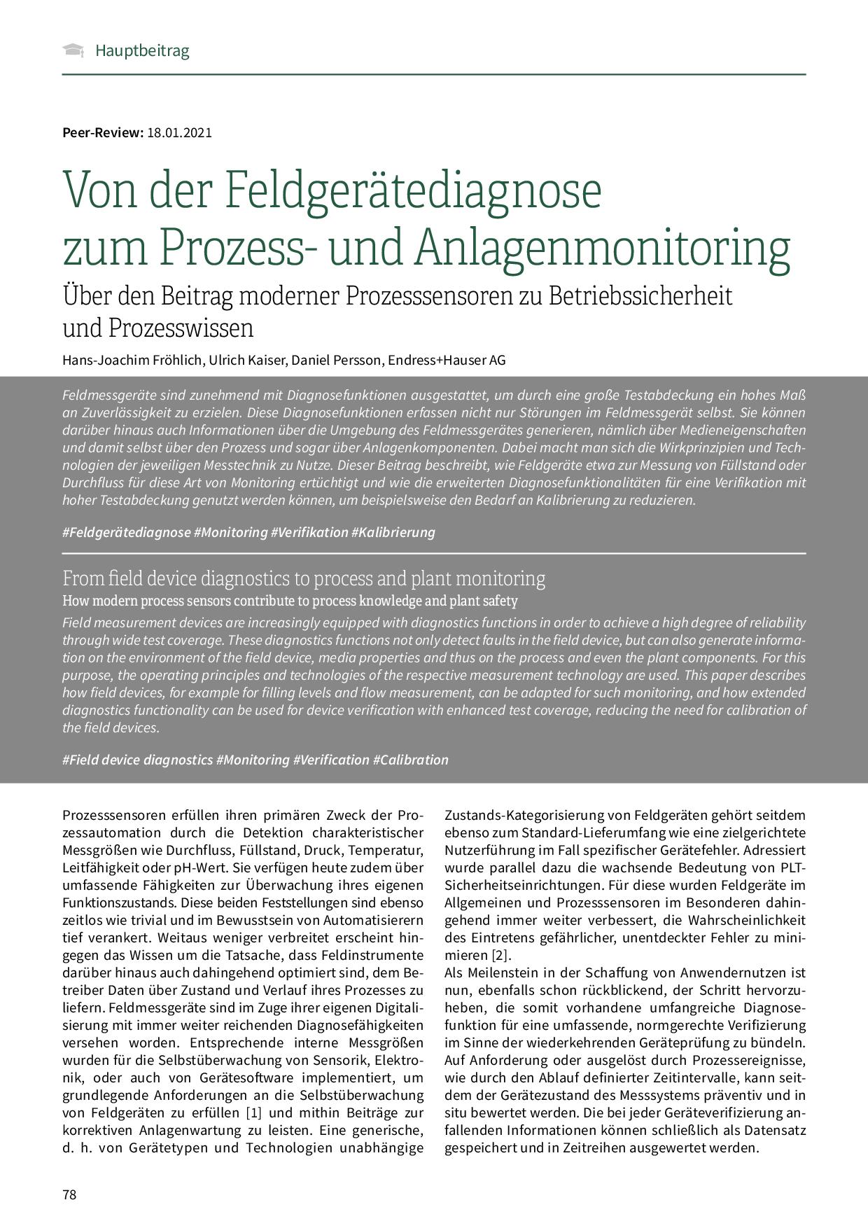 Von der Feldgerätediagnose zum Prozess- und Anlagenmonitoring