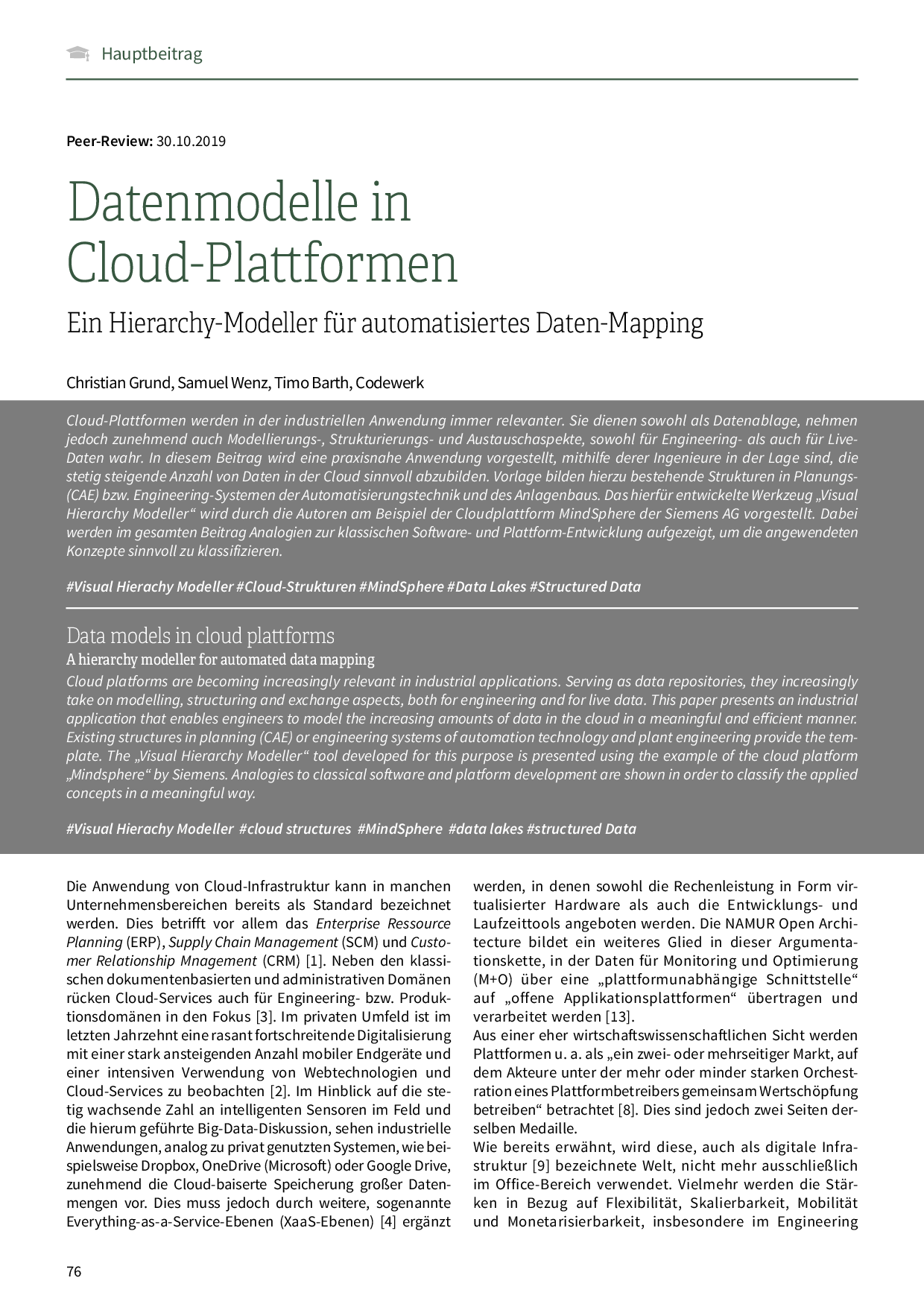 Datenmodelle in Cloud-Plattformen