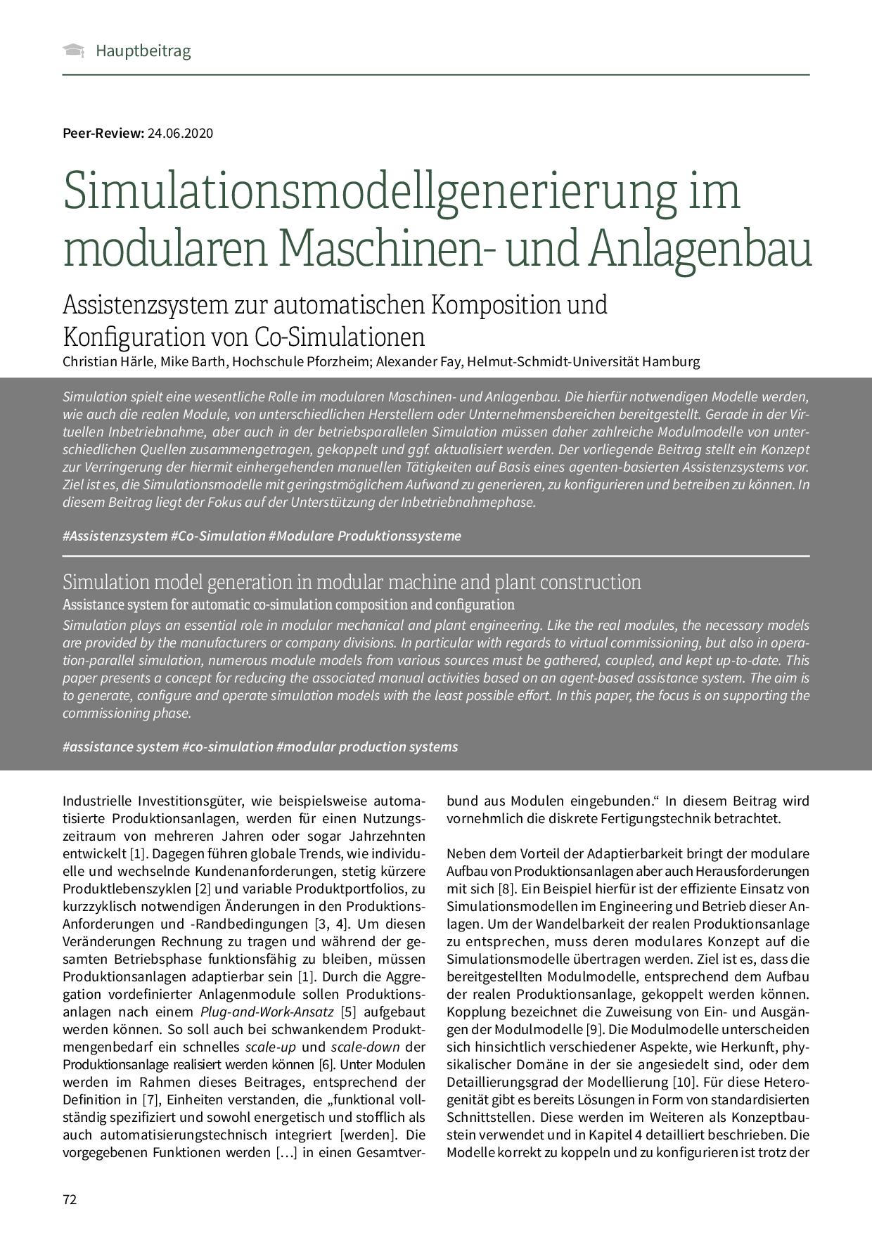Simulationsmodellgenerierung im modularen Maschinen- und Anlagenbau