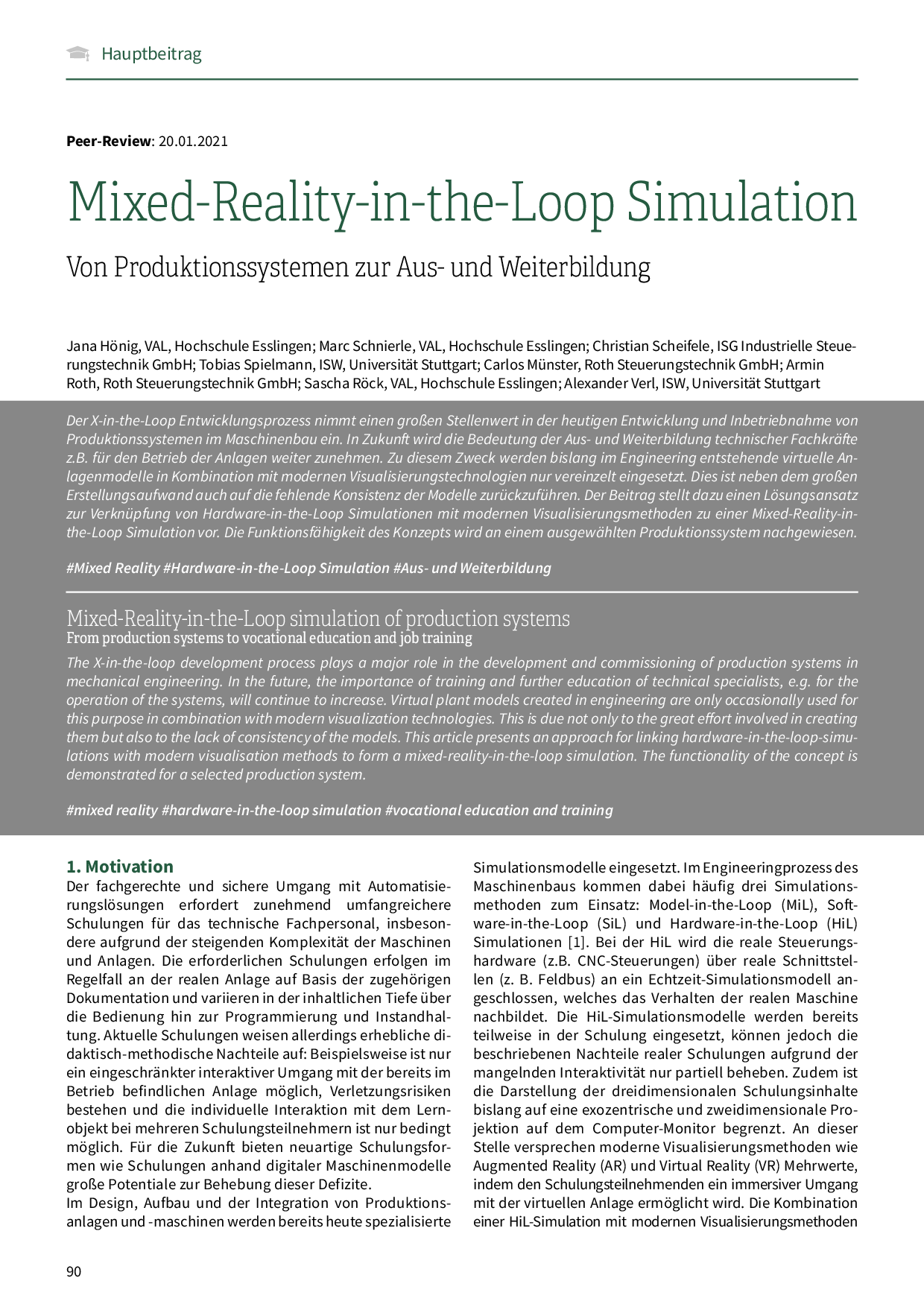 Mixed-Reality-in-the-Loop Simulation