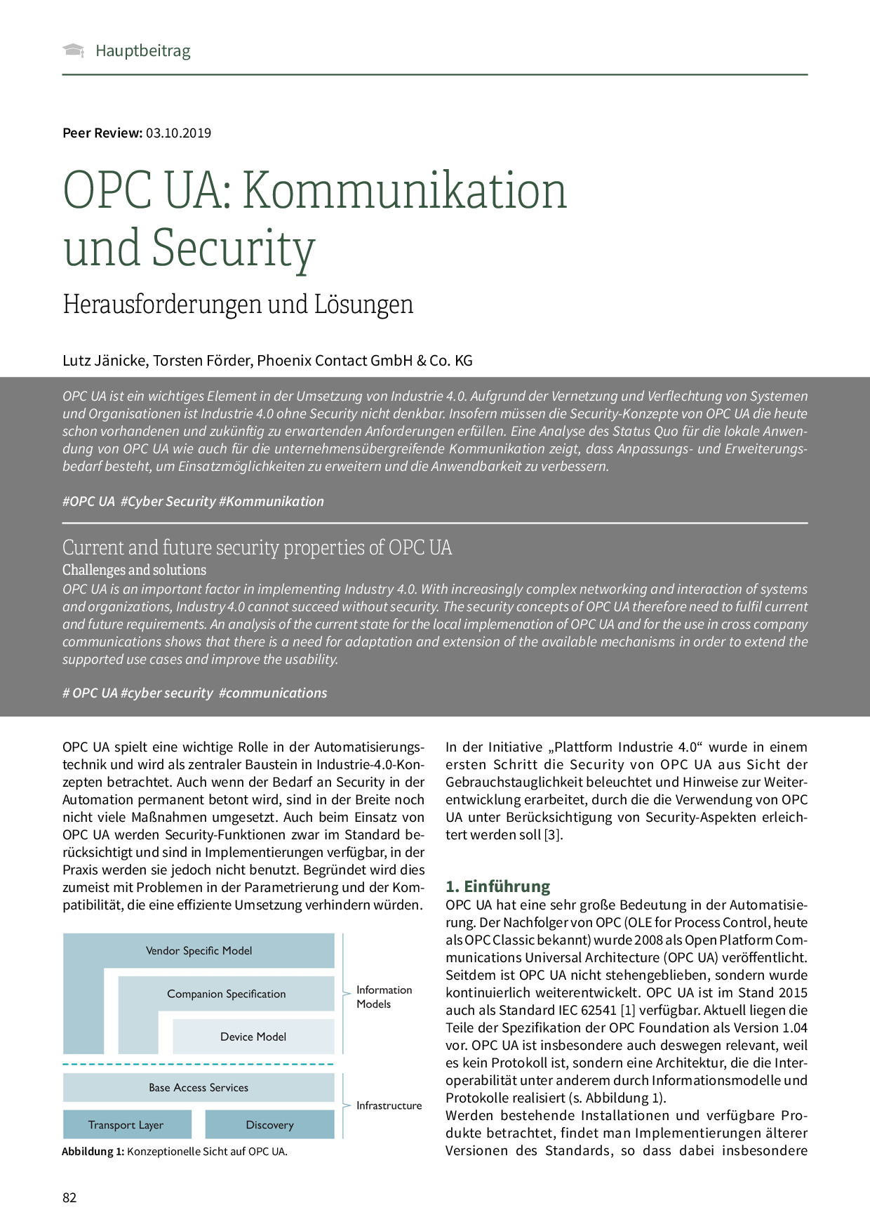 OPC UA: Kommunikation und Security