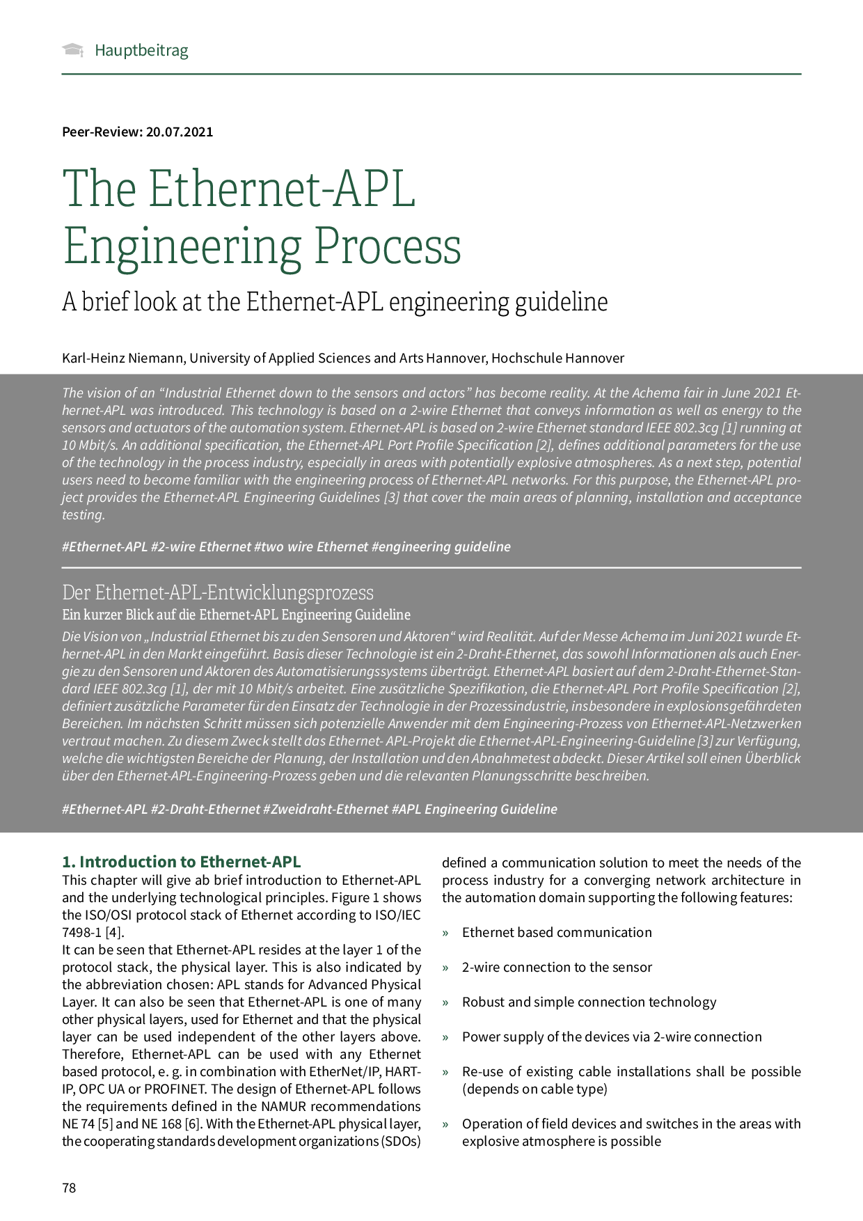 The Ethernet-APL Engineering Process