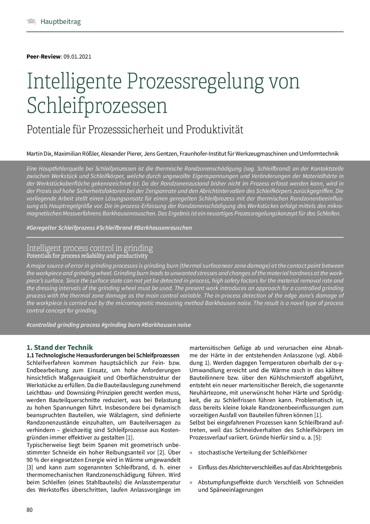 Intelligente Prozessregelung von Schleifprozessen