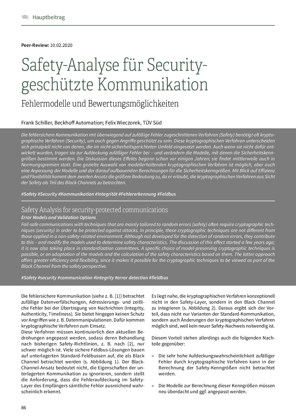 Safety-Analyse für Security-geschützte Kommunikation
