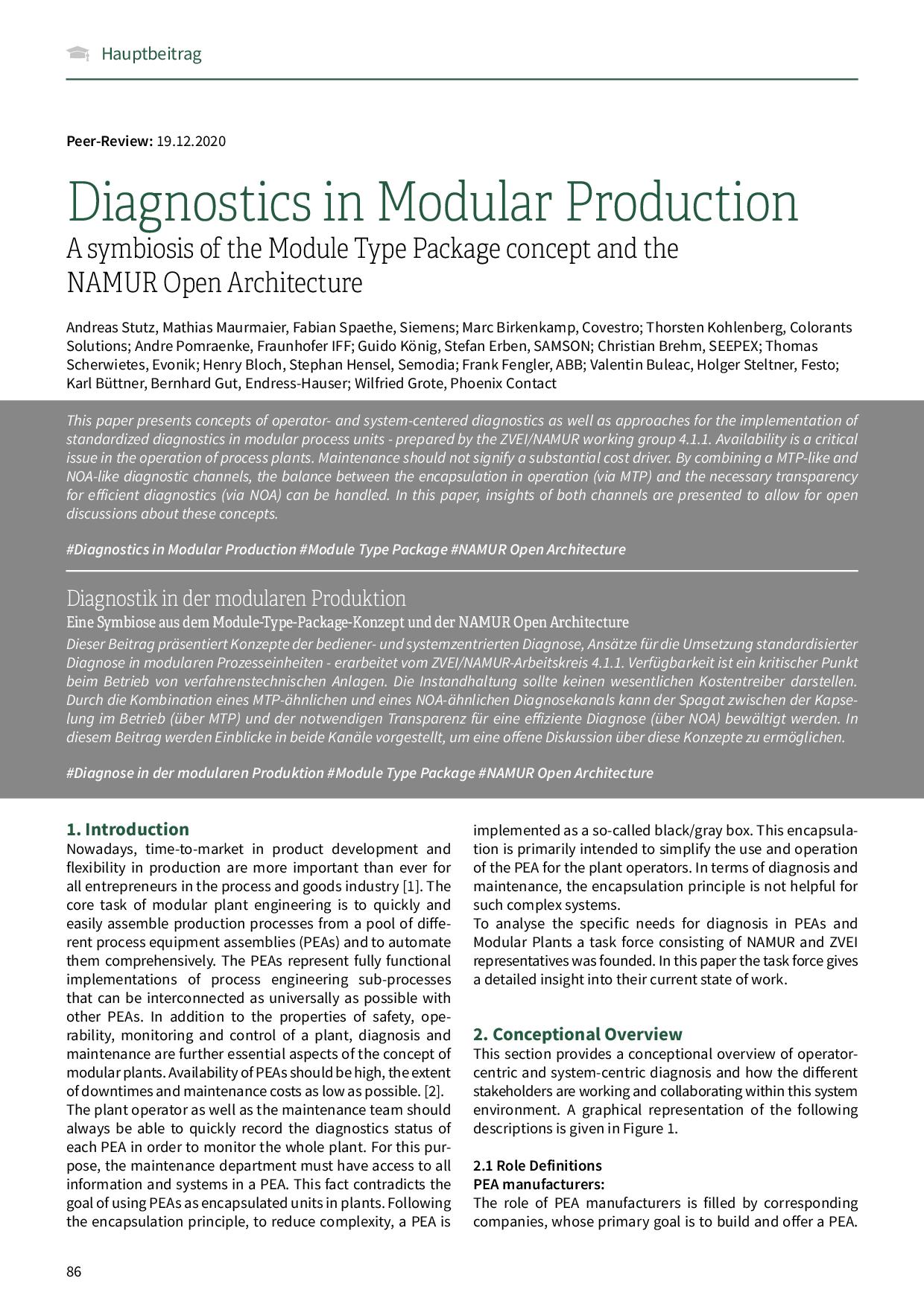Diagnostics in Modular Production