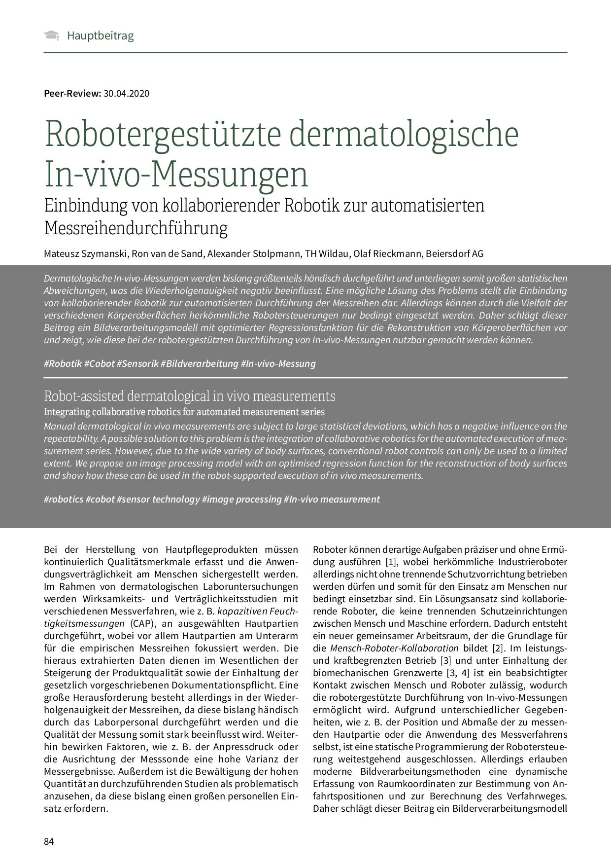 Robotergestützte dermatologische In-vivo-Messungen