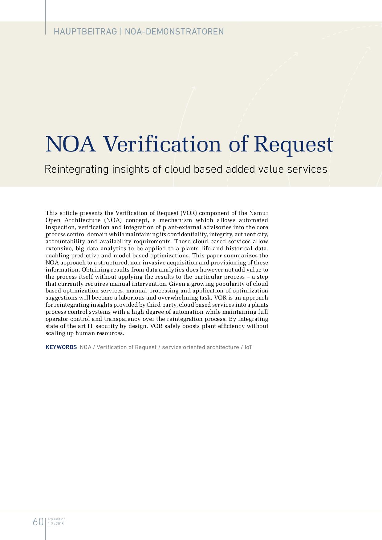 NOA Verification of Request