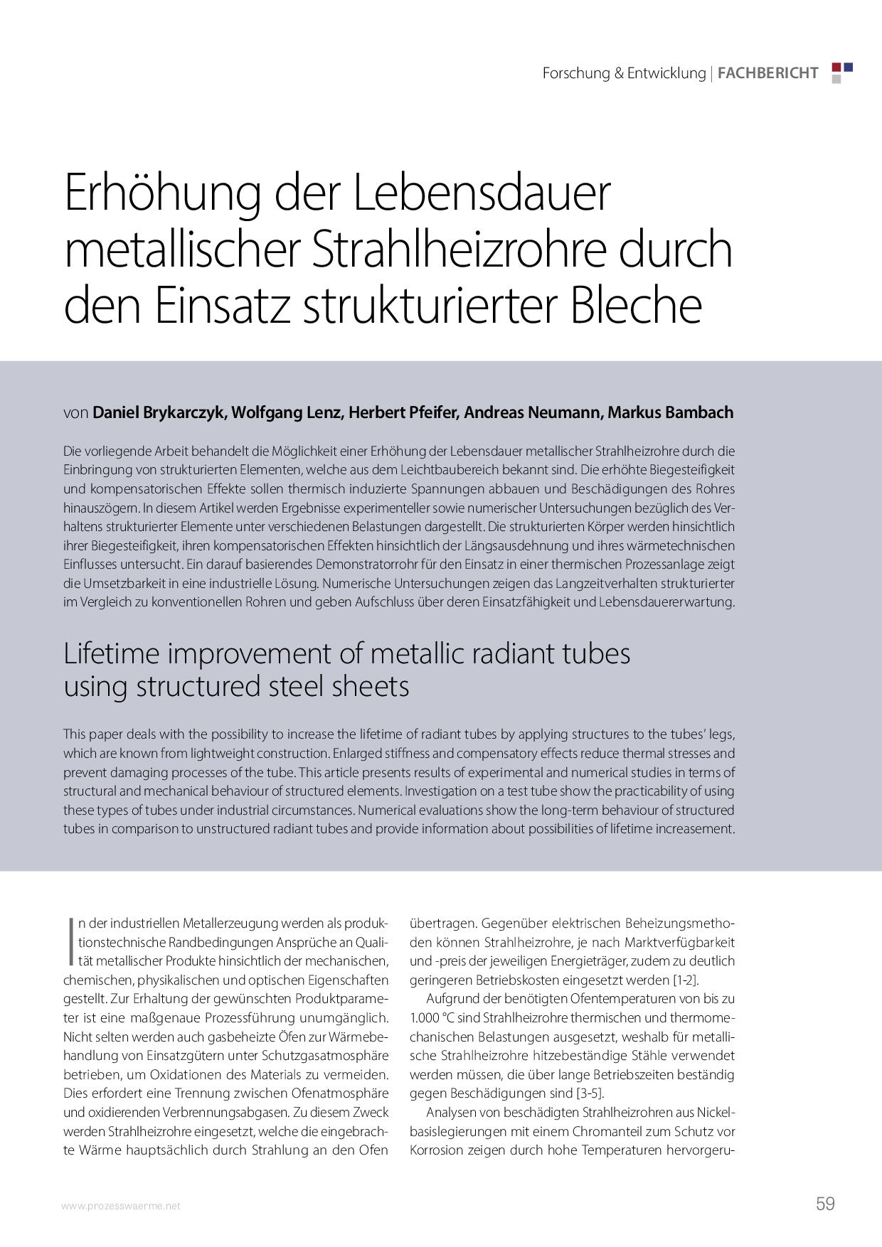 Erhöhung der Lebensdauer metallischer Strahlheizrohre durch den Einsatz strukturierter Bleche