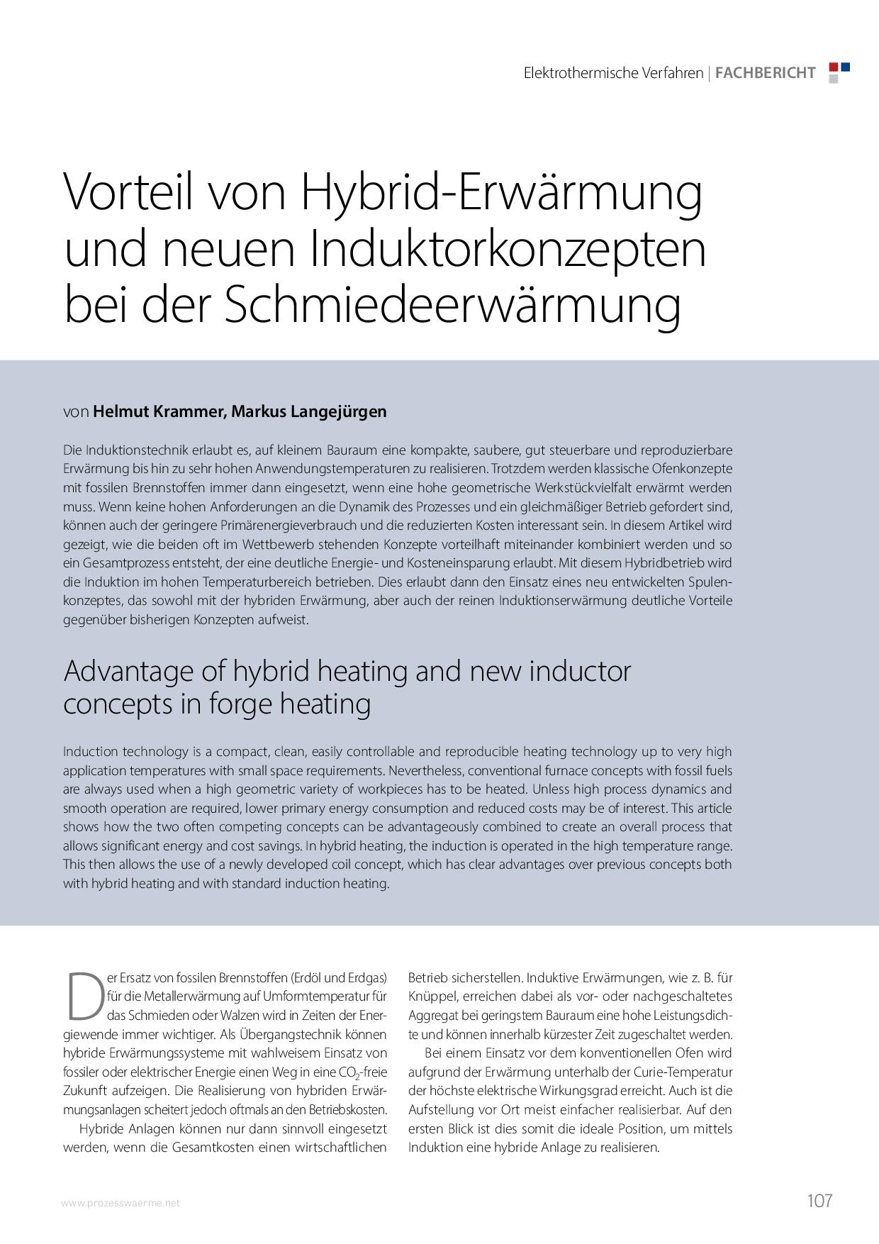 Vorteil von Hybrid-Erwärmung und neuen Induktorkonzepten bei der Schmiedeerwärmung