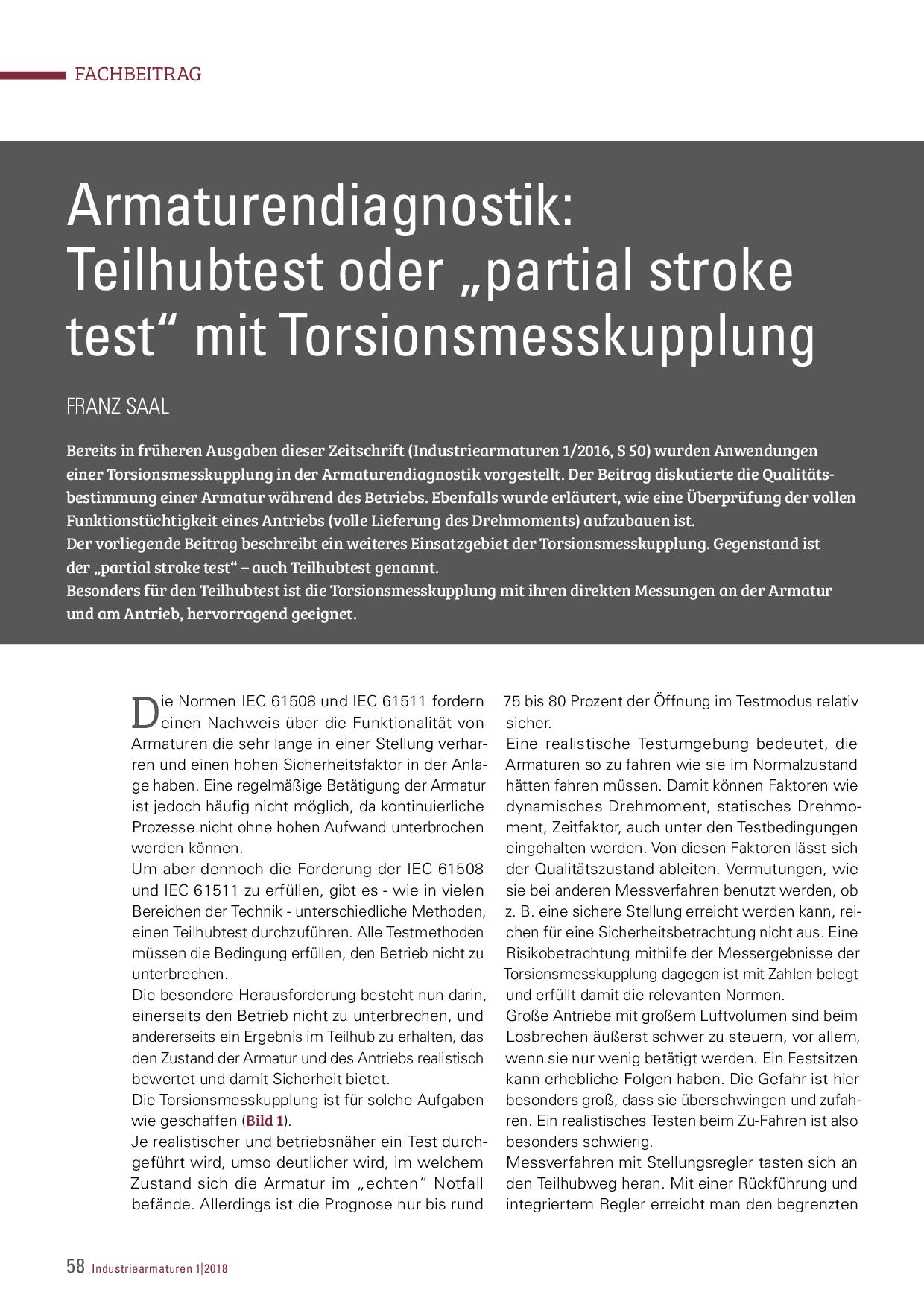 """Armaturendiagnostik: Teilhubtest oder """"partial stroke test"""" mit Torsionsmesskupplung"""