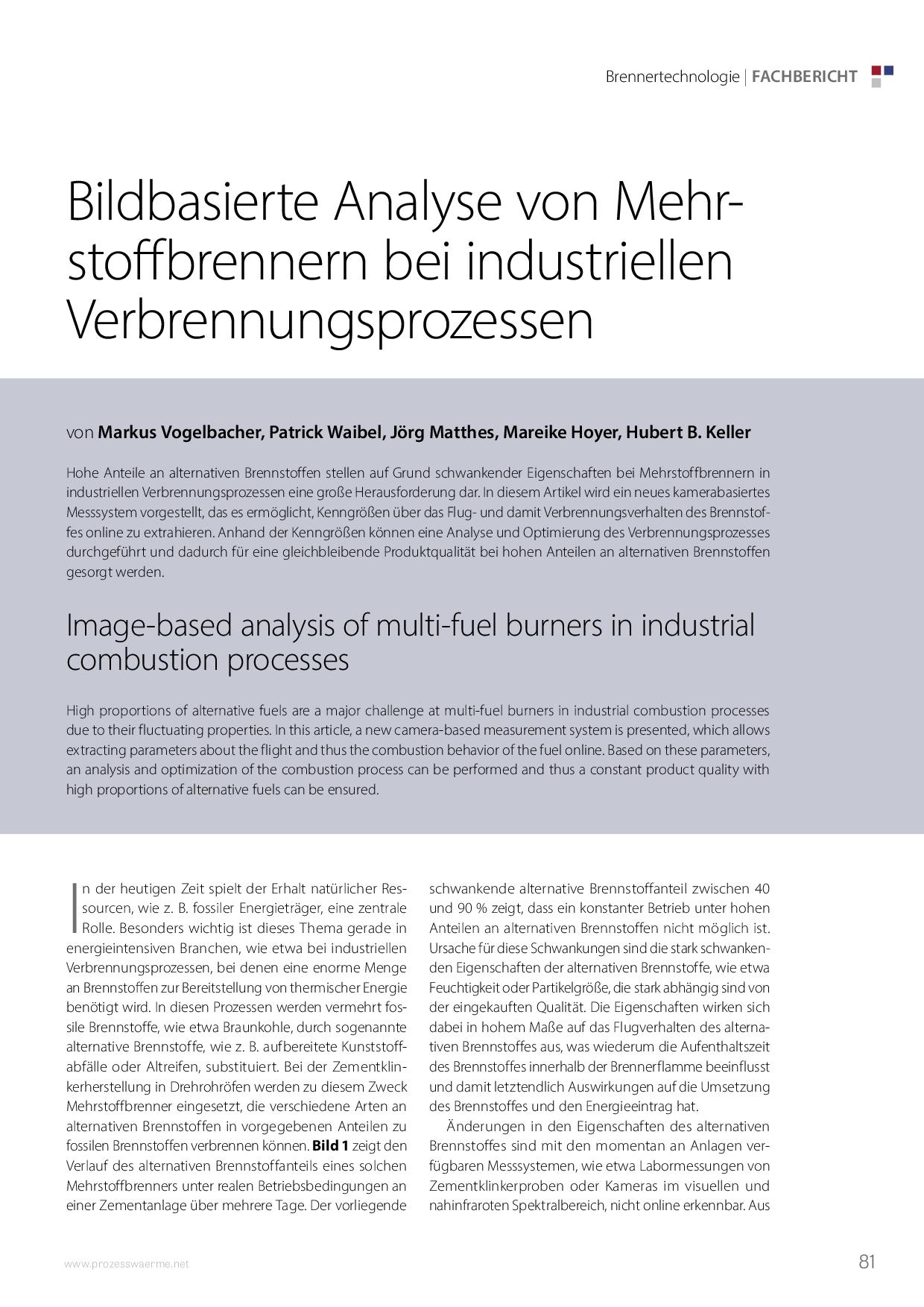 Bildbasierte Analyse von Mehrstoffbrennern bei industriellen Verbrennungsprozessen