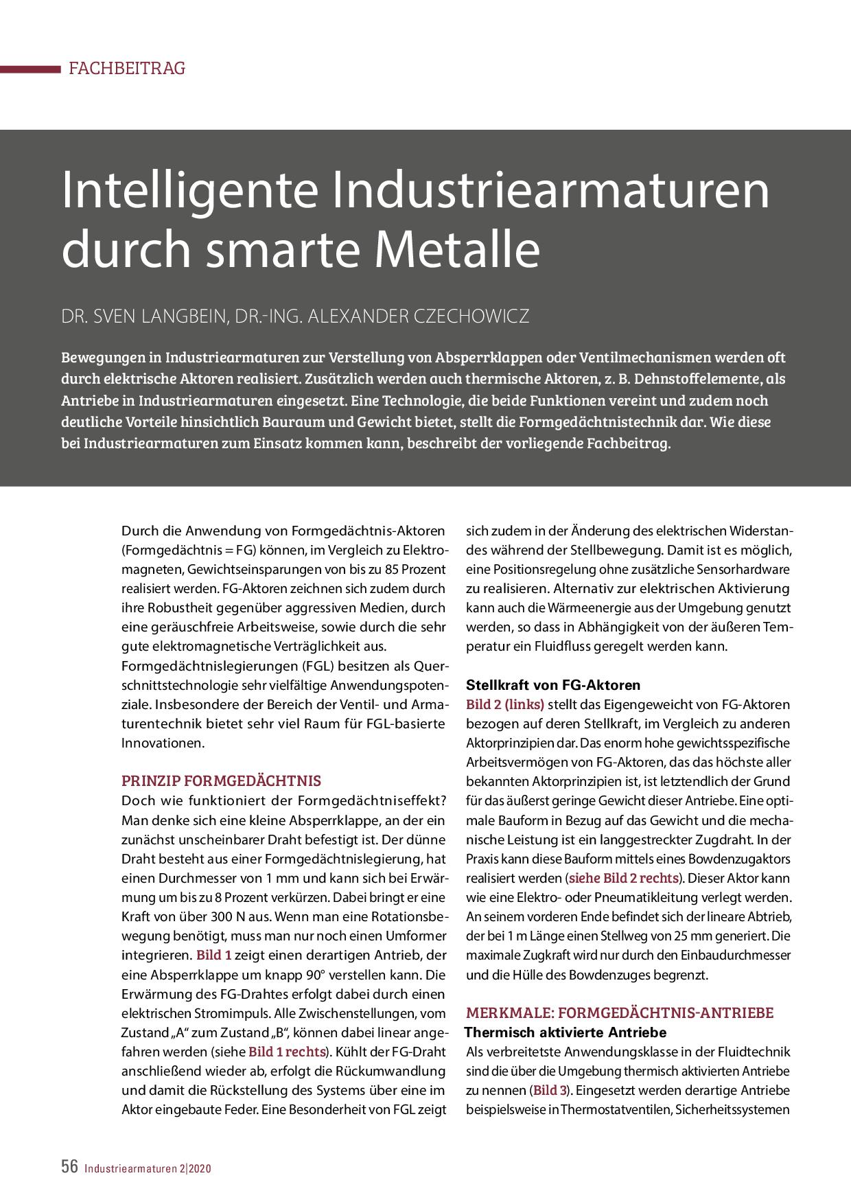 Intelligente Industriearmaturen durch smarte Metalle