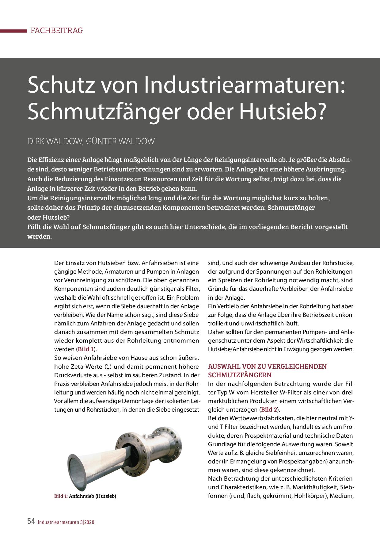 Schutz von Industriearmaturen: Schmutzfänger oder Hutsieb?