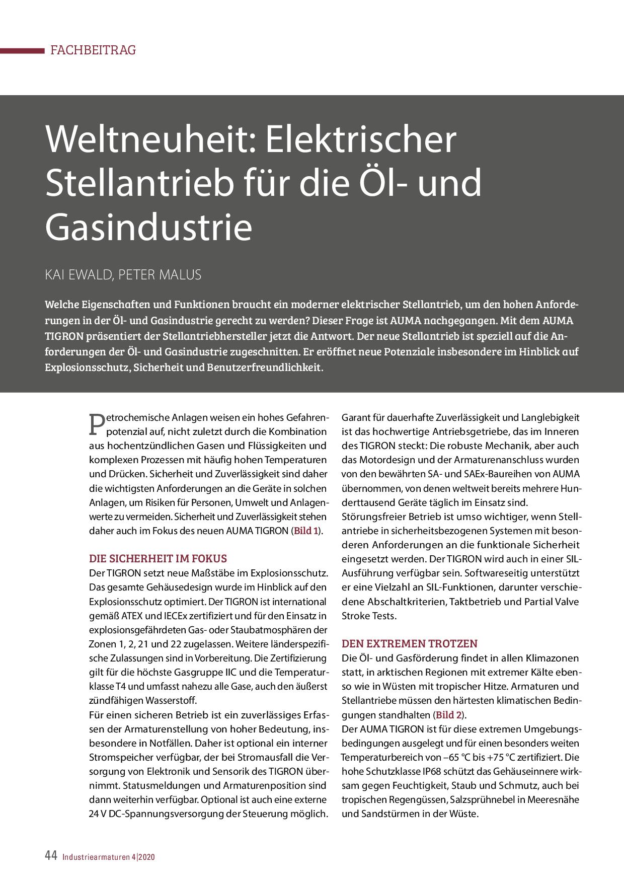 Weltneuheit: Elektrischer Stellantrieb für die Öl- und Gasindustrie