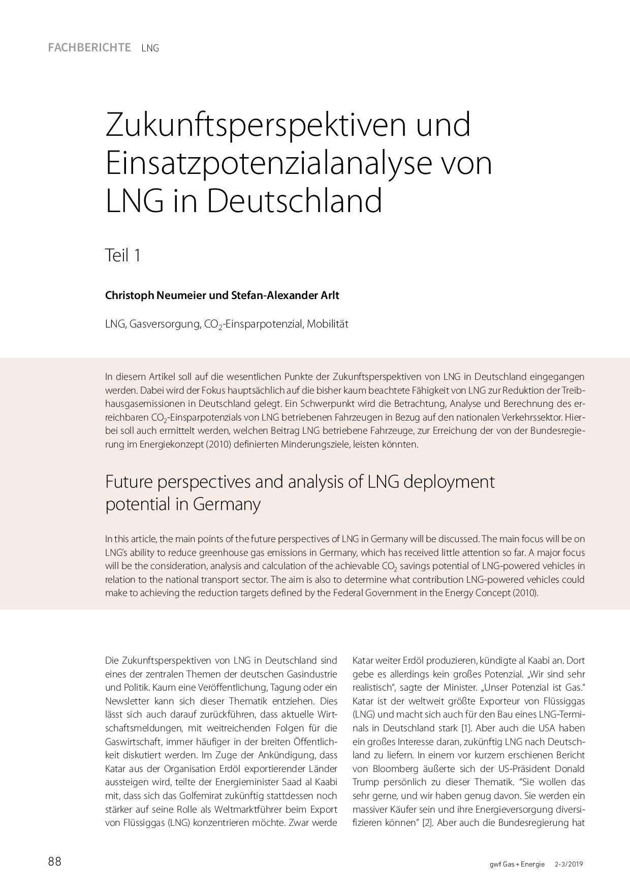 Zukunftsperspektiven und Einsatzpotenzialanalyse von LNG in Deutschland