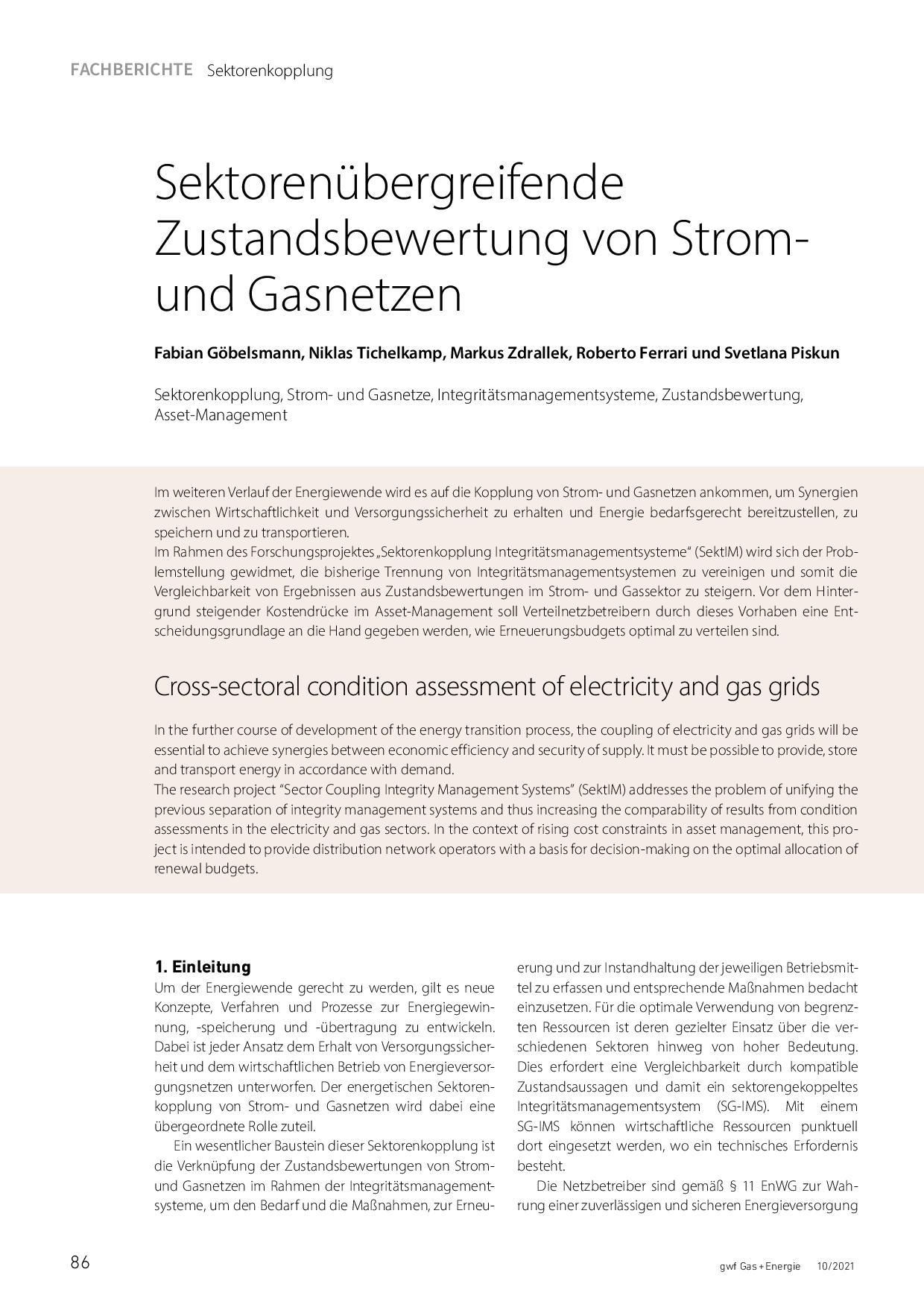 Sektorenübergreifende Zustandsbewertung von Strom- und Gasnetzen