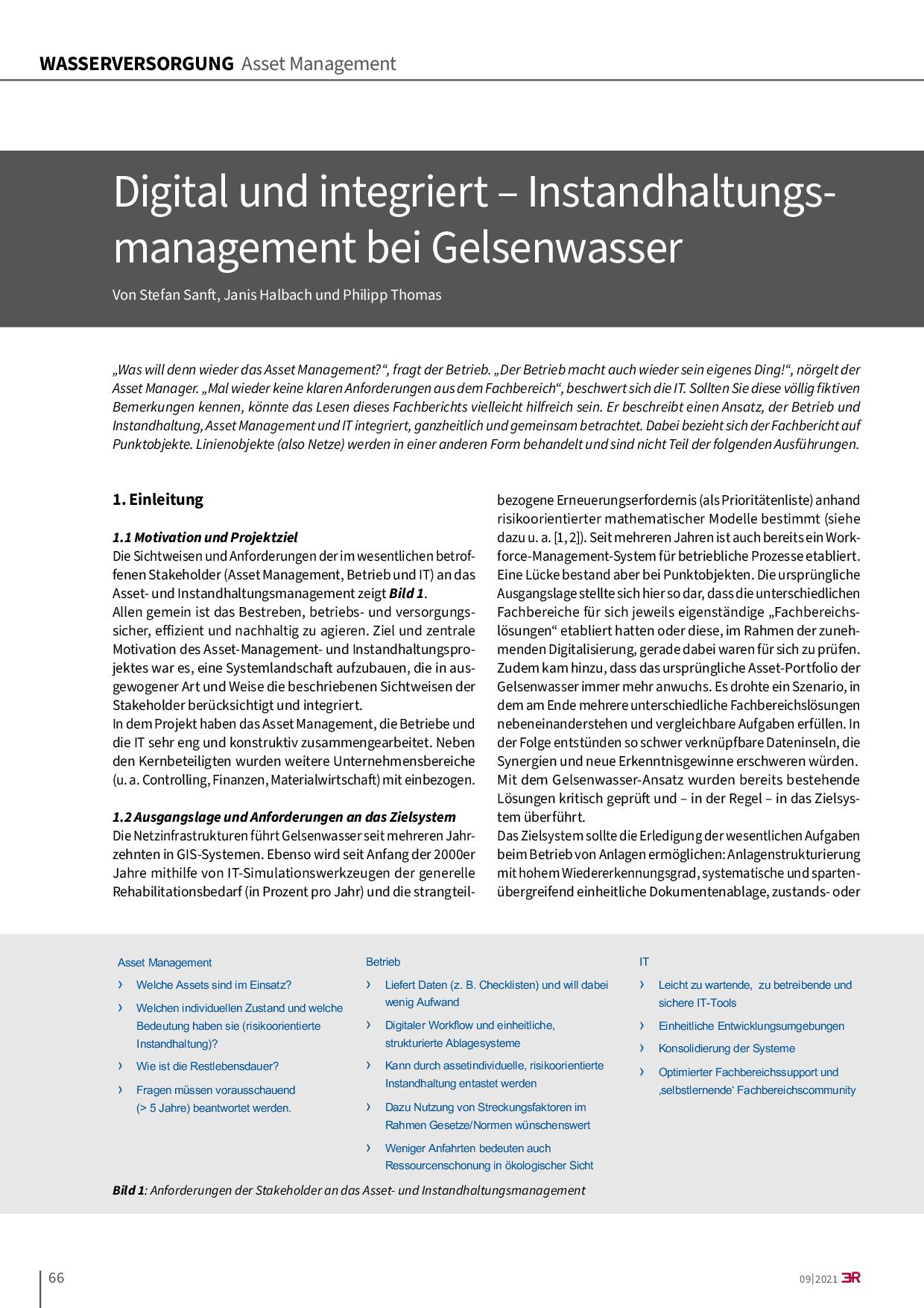 Digital und integriert – Instandhaltungsmanagement bei Gelsenwasser