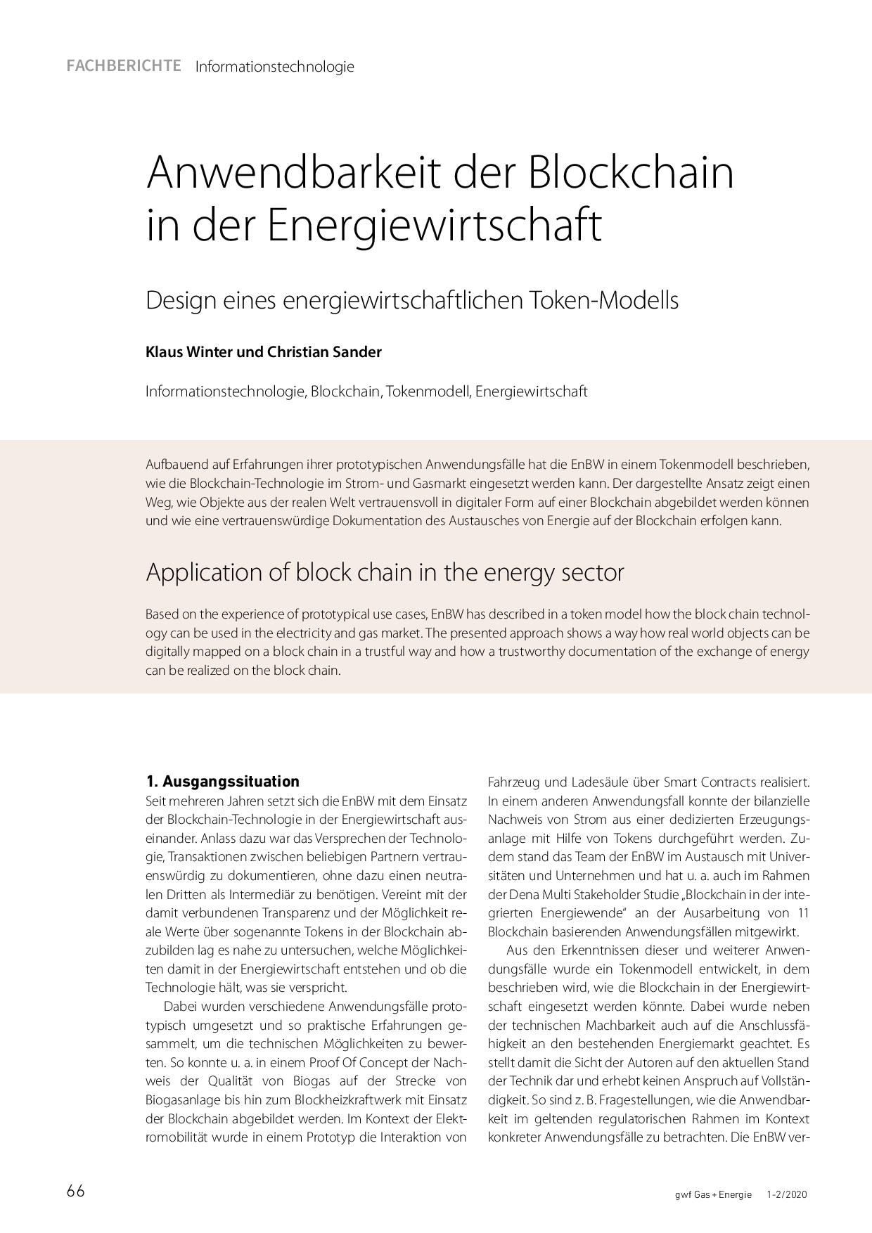 Anwendbarkeit der Blockchain in der Energiewirtschaft