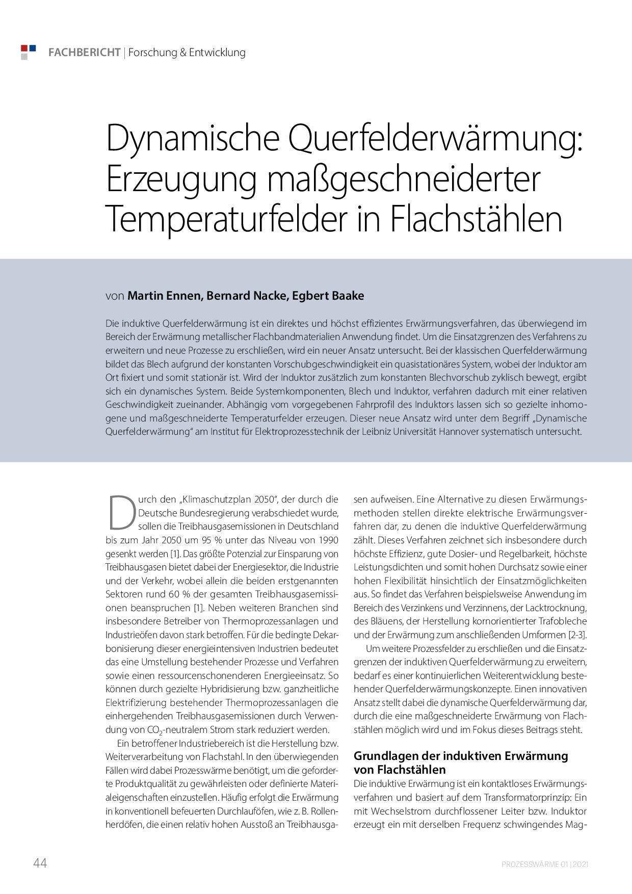 Dynamische Querfelderwärmung: Erzeugung maßgeschneiderter Temperaturfelder in Flachstählen
