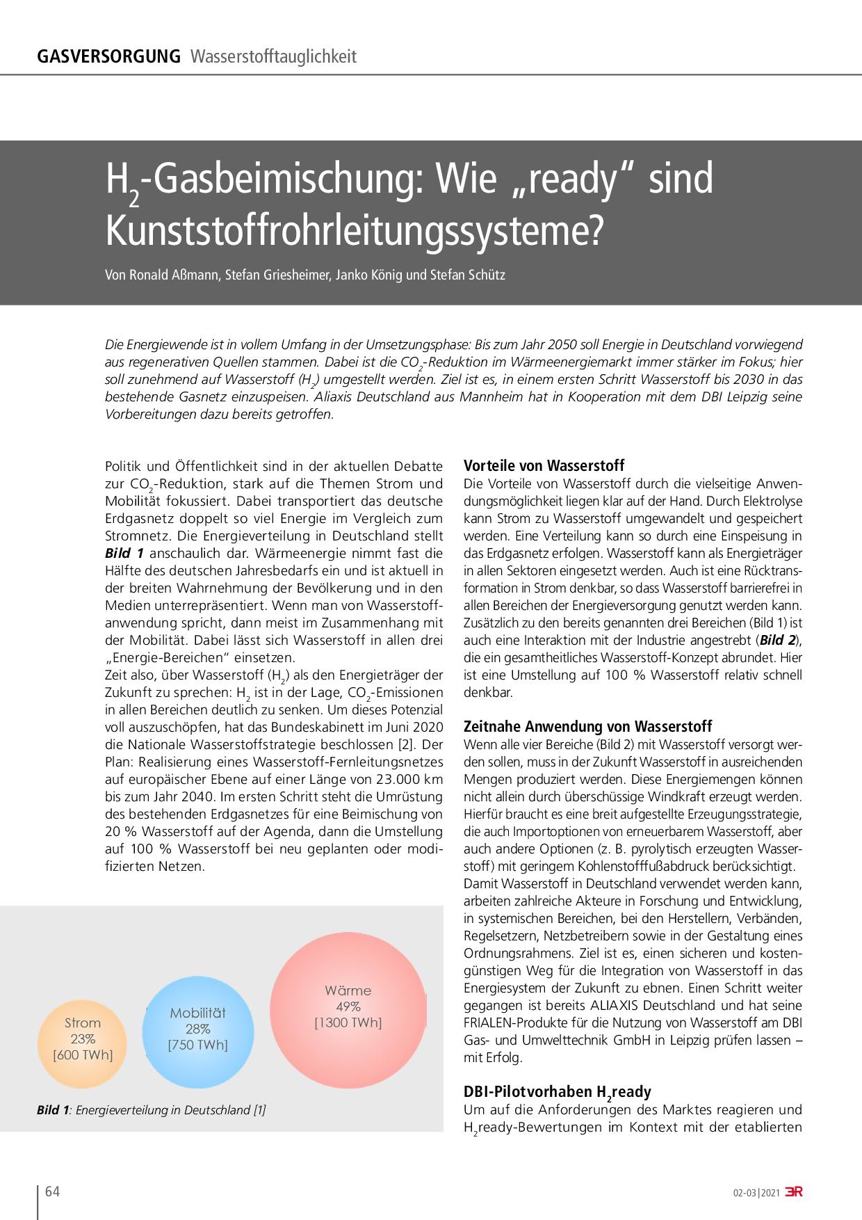 """H2-Gasbeimischung: Wie """"ready"""" sind Kunststoffrohrleitungssysteme?"""