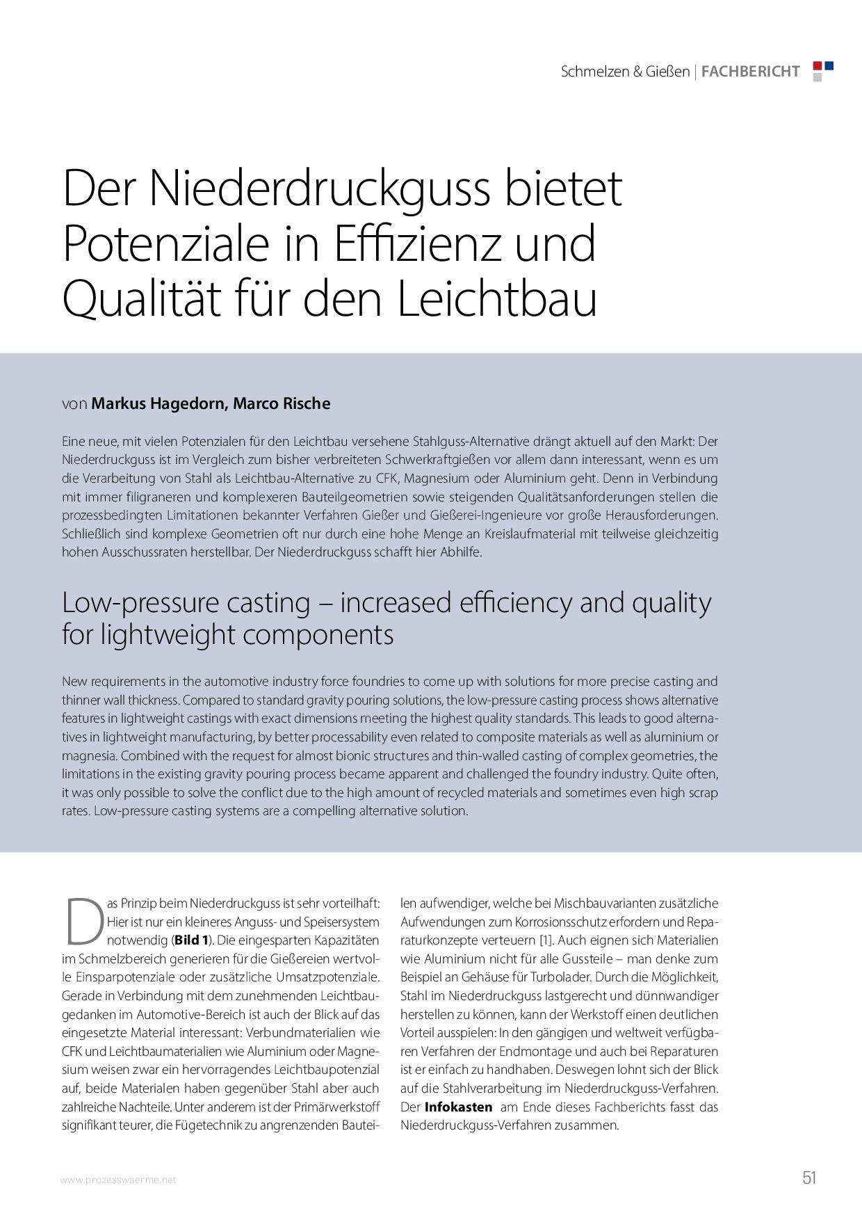 Der Niederdruckguss bietet Potenziale in Effizienz und Qualität für den Leichtbau
