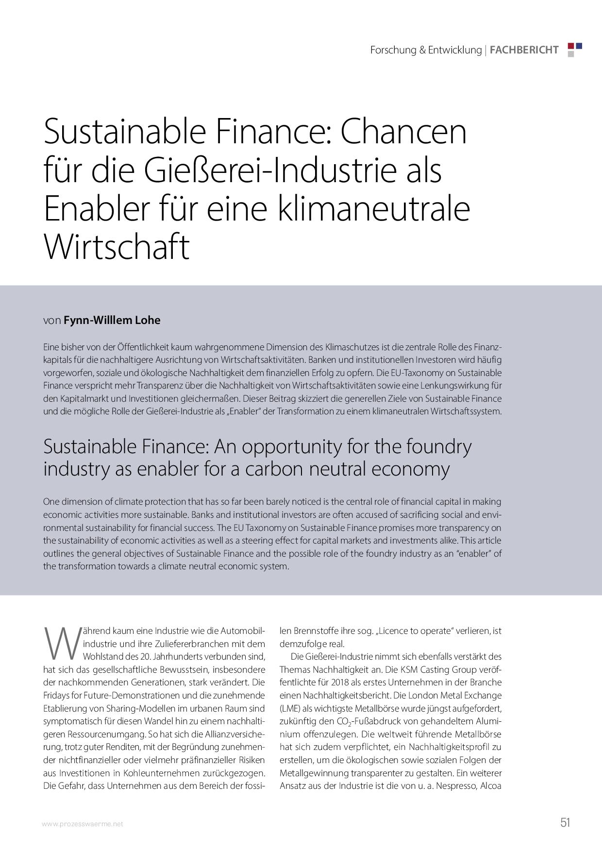 Sustainable Finance: Chancen für die Gießerei-Industrie als Enabler für eine klimaneutrale Wirtschaft