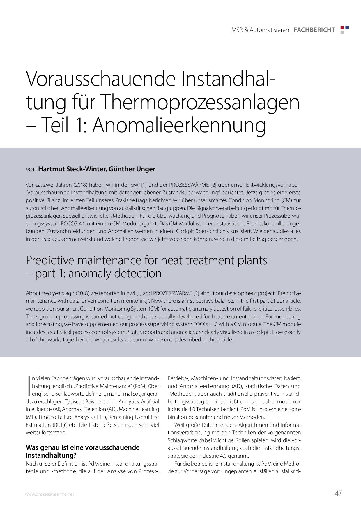 Vorausschauende Instandhaltung für Thermoprozessanlagen – Teil 1: Anomalieerkennung