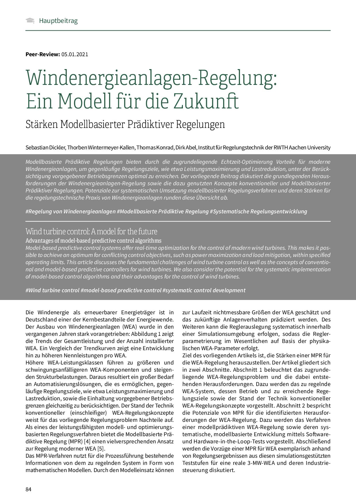 Windenergieanlagen-Regelung: Ein Modell für die Zukunft