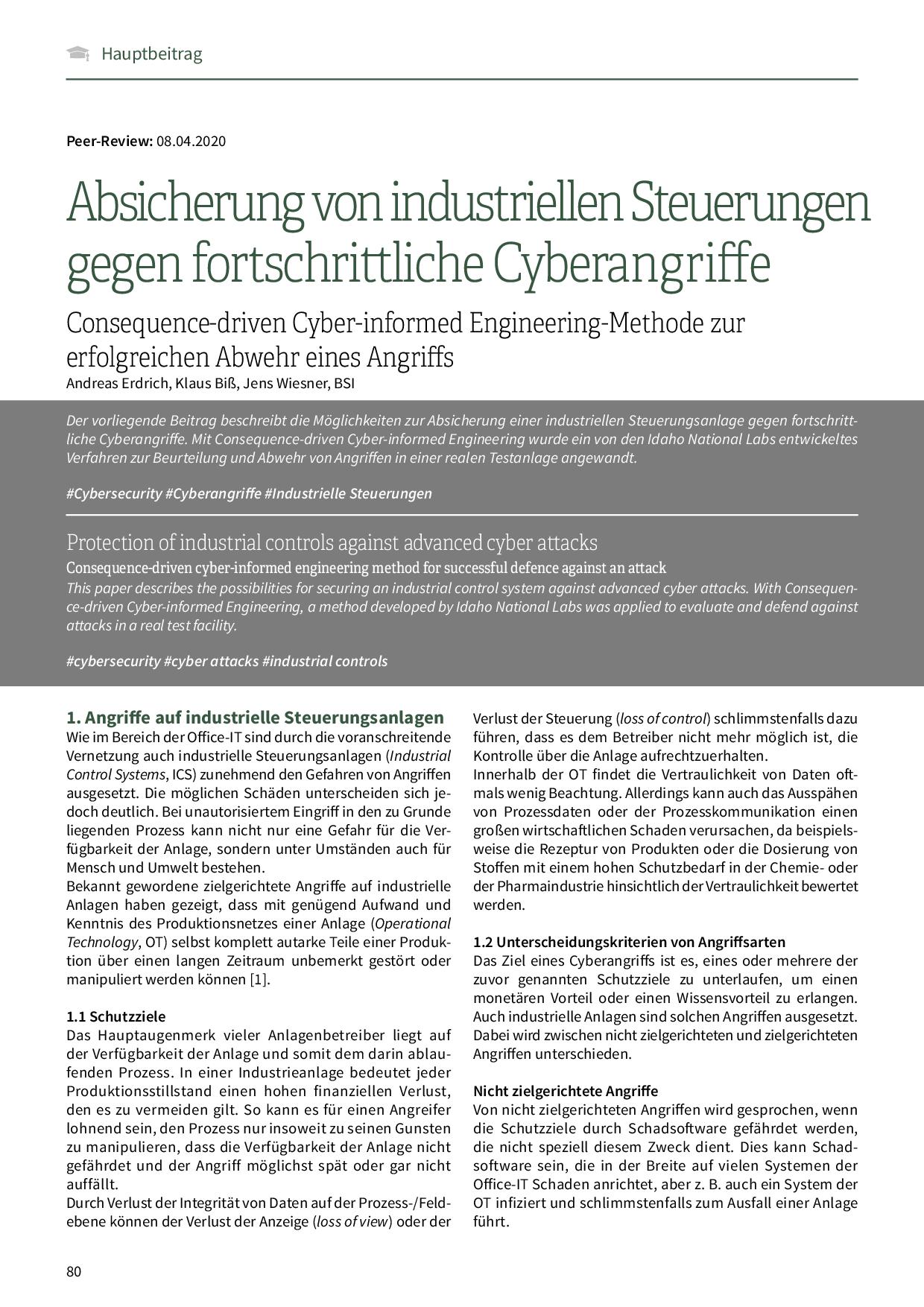 Absicherung von industriellen Steuerungen gegen fortschrittliche Cyberangriffe