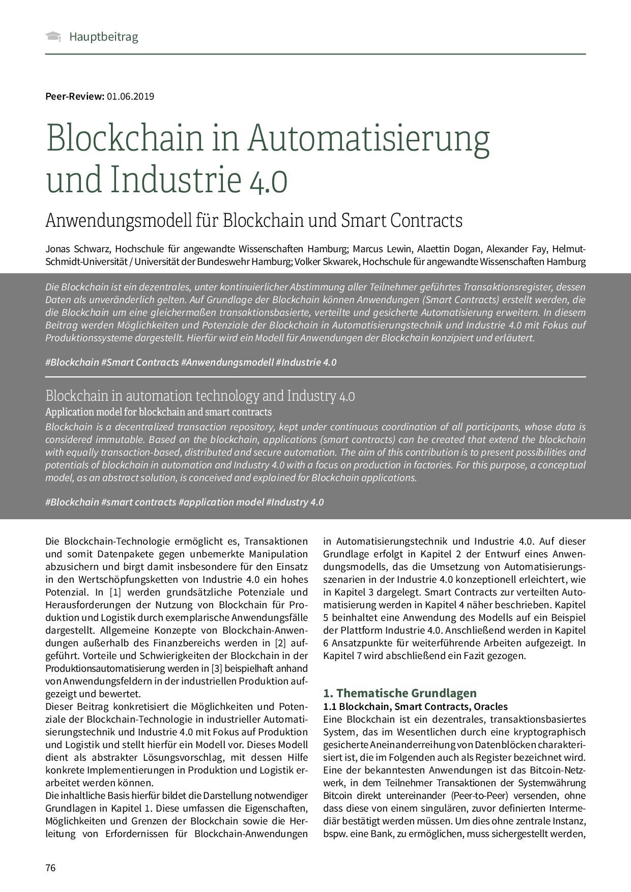 Blockchain in Automatisierung und Industrie 4.0
