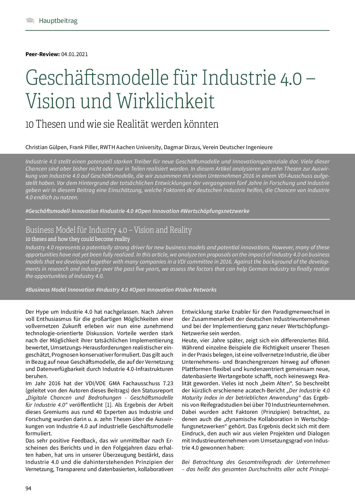 Geschäftsmodelle für Industrie 4.0 – Vision und Wirklichkeit