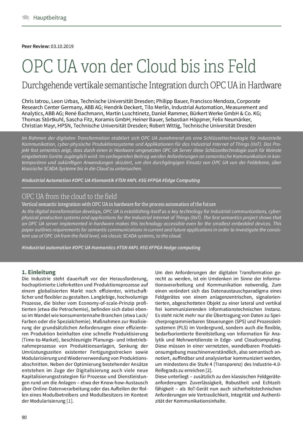 OPC UA von der Cloud bis ins Feld